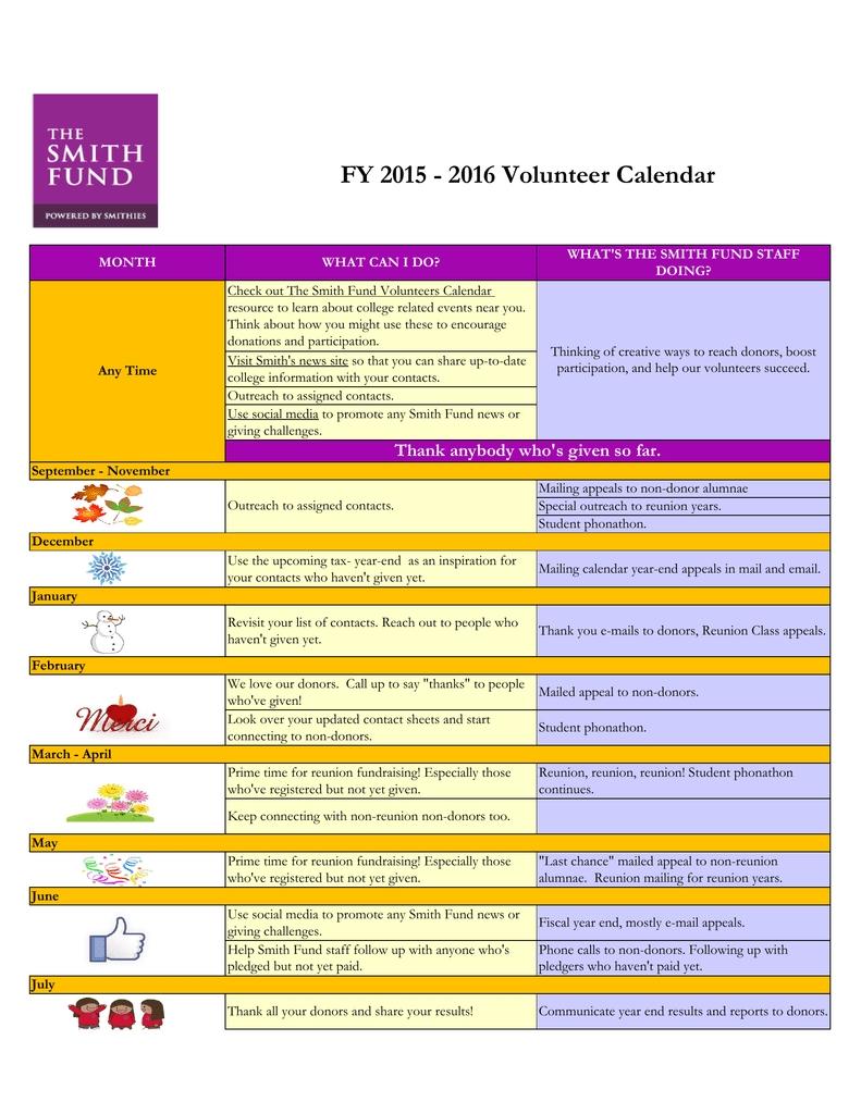 Fy 2015 - 2016 Volunteer Calendar