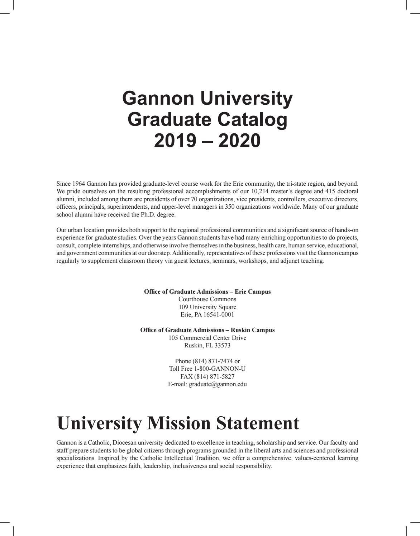 Gannon University Graduate Catalog 2019-2020Gannon