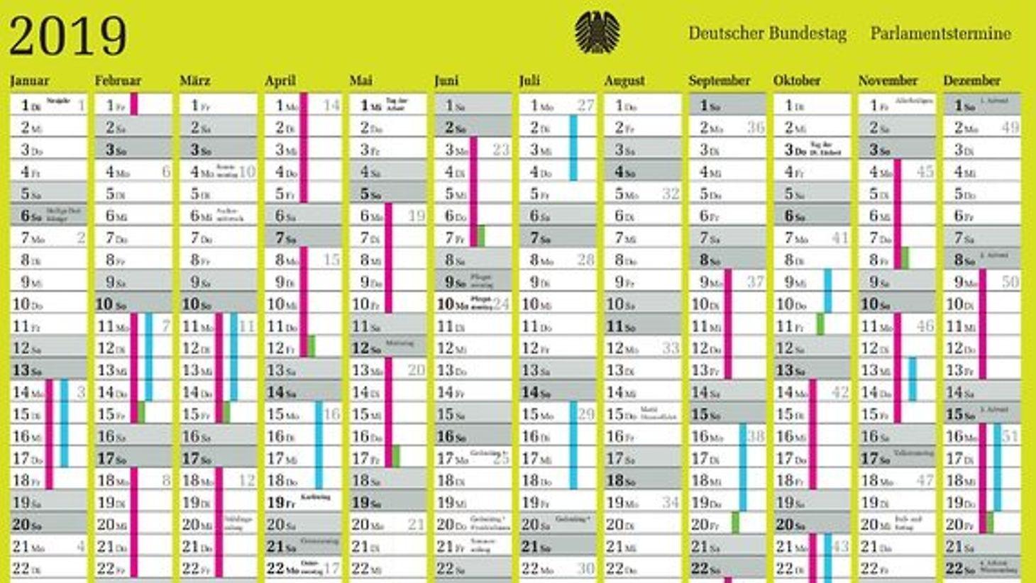 German Bundestag - Parliamentary Calendar