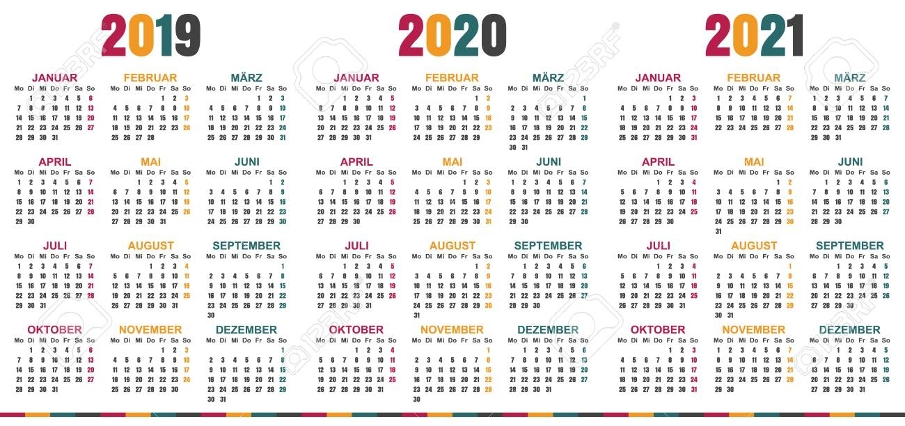German Calendar 2019 - 2021, Week Starts On Monday, Simple Calendar..