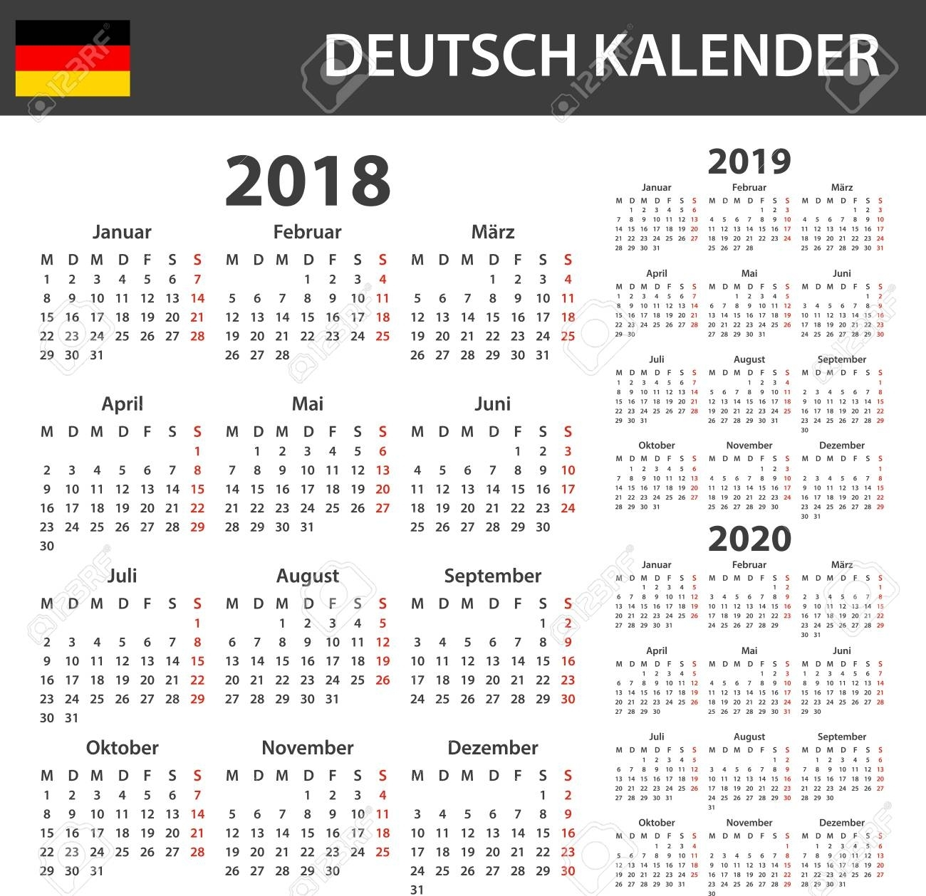 German Calendar For 2018, 2019 And 2020. Scheduler, Agenda Or..