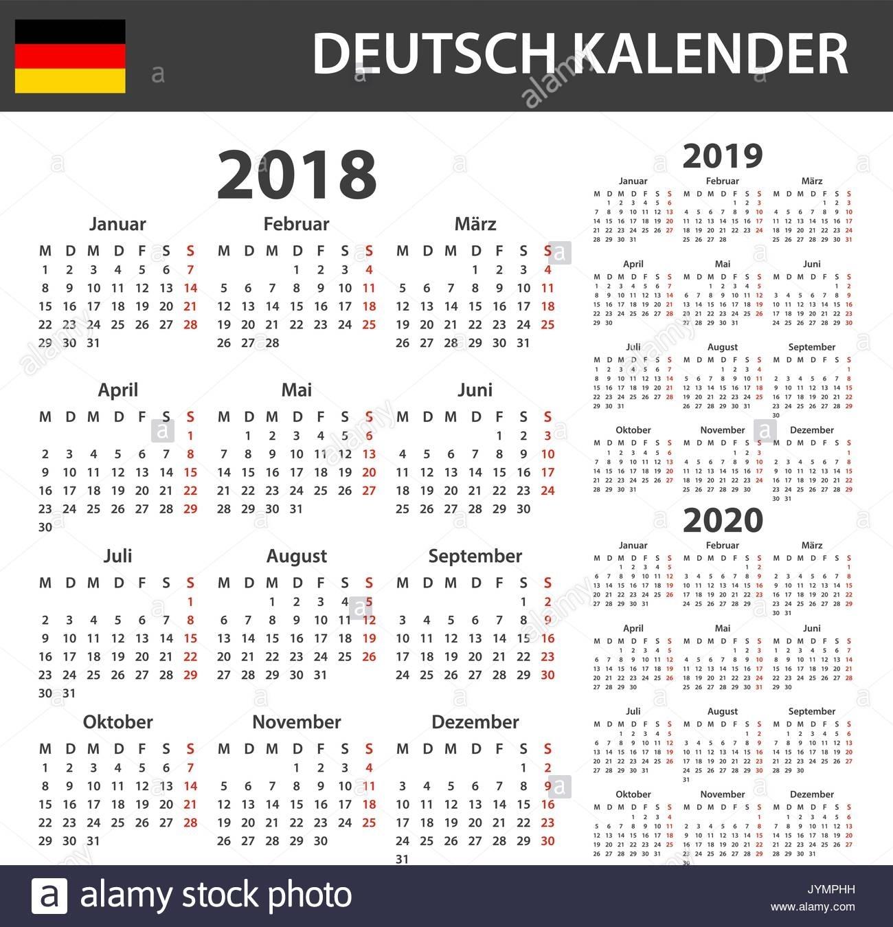 German Calendar For 2018, 2019 And 2020. Scheduler, Agenda