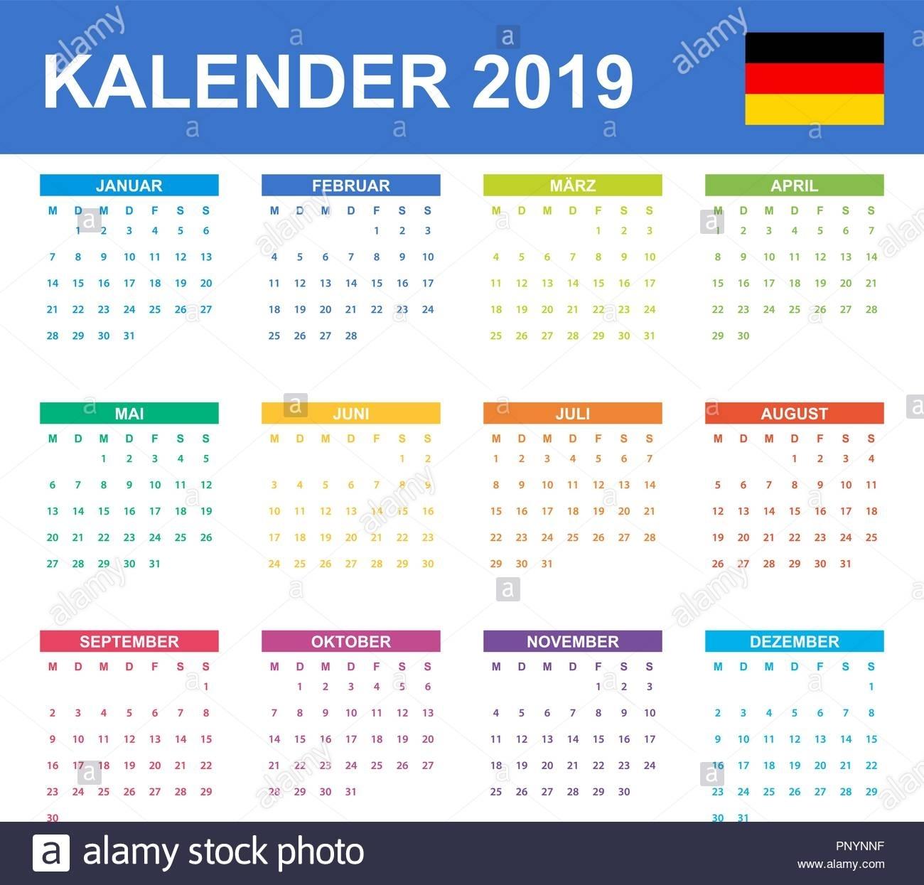 German Calendar For 2019. Scheduler, Agenda Or Diary