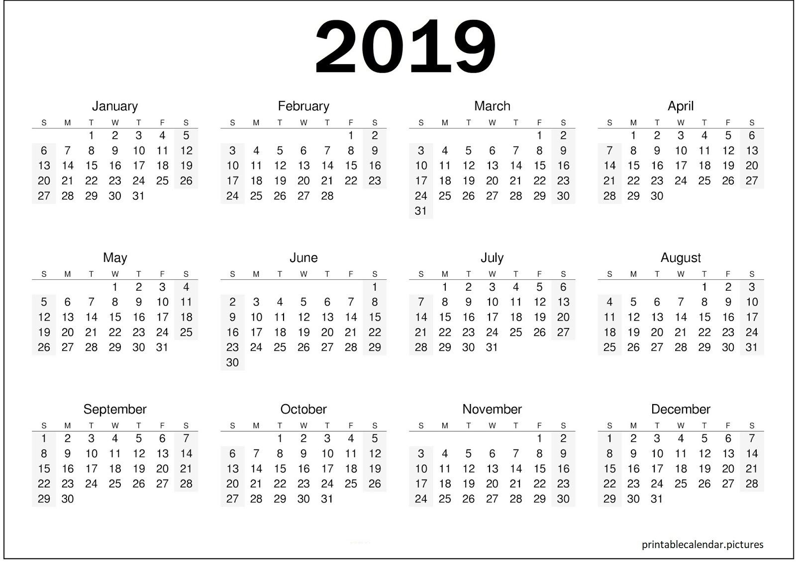 Get Blank Yearly Calendar 2019 One Page ⋆ The Best