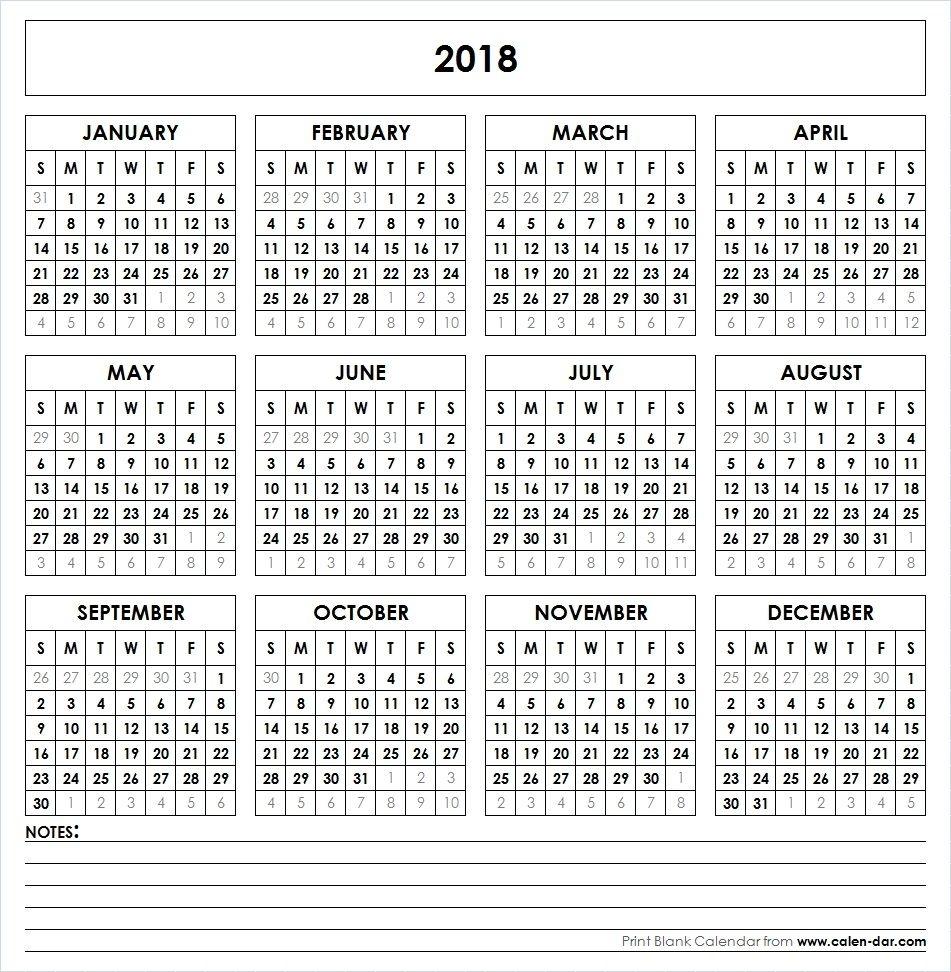 Get Free Blank Template Of Year 2018 Printable Calendar