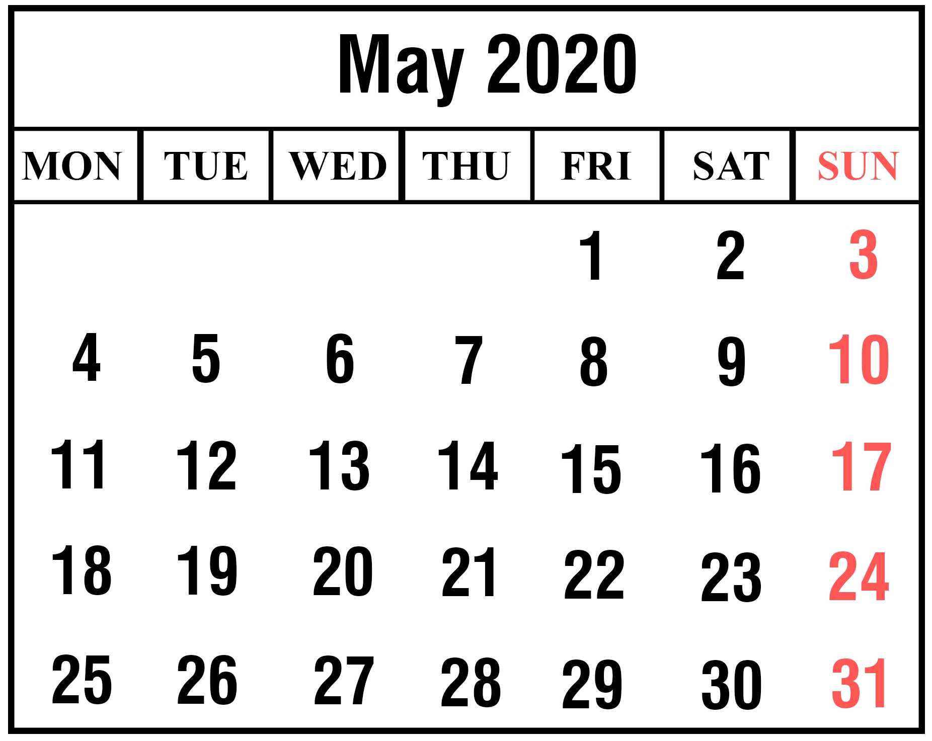 Get May 2020 Calendar With Holidays Printable Template