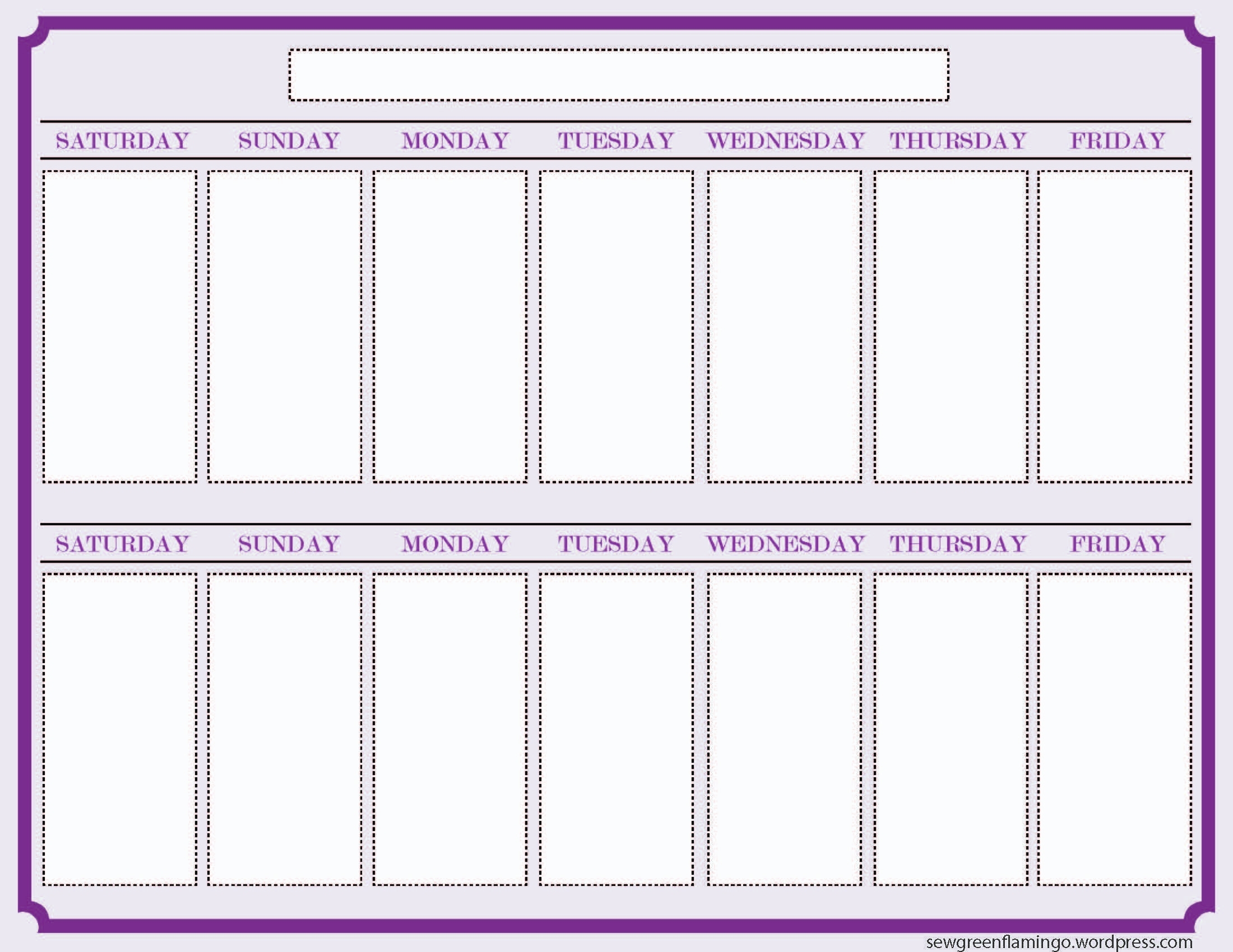 Getting Organized! 2-Week Planner | Blank Calendar Template