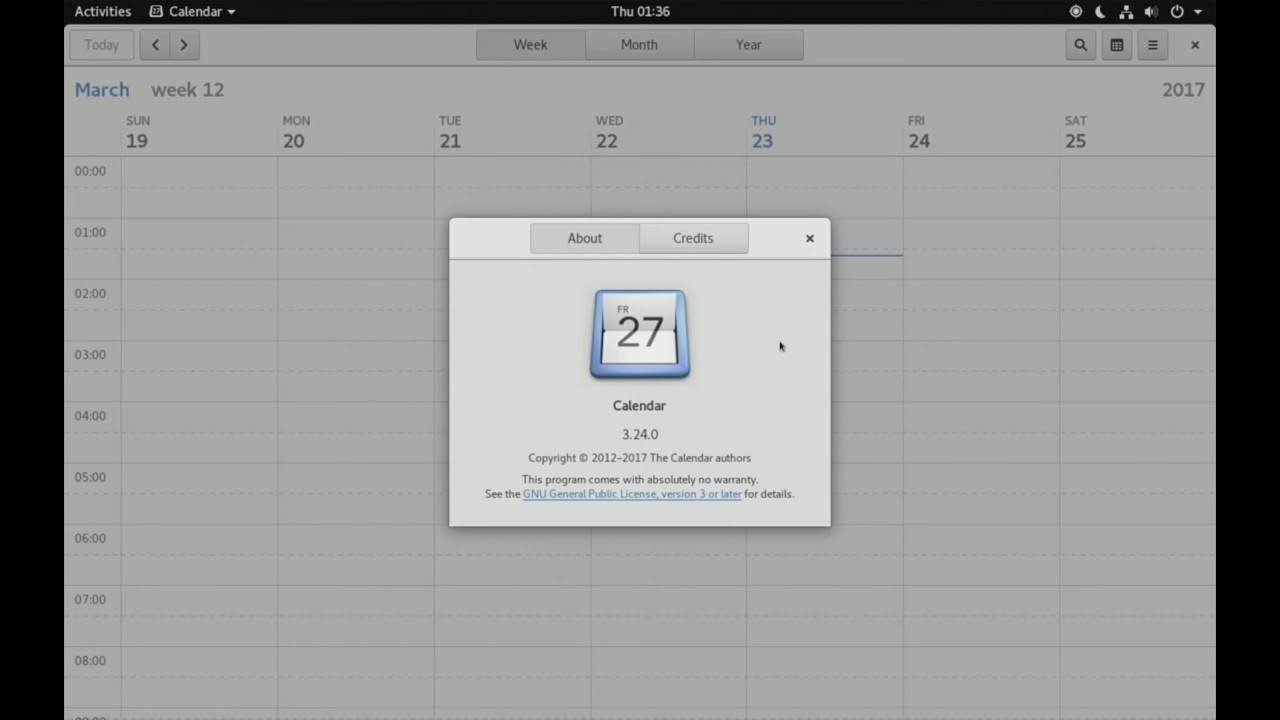 Gnome 3.24 - Calendar Week View - Demo