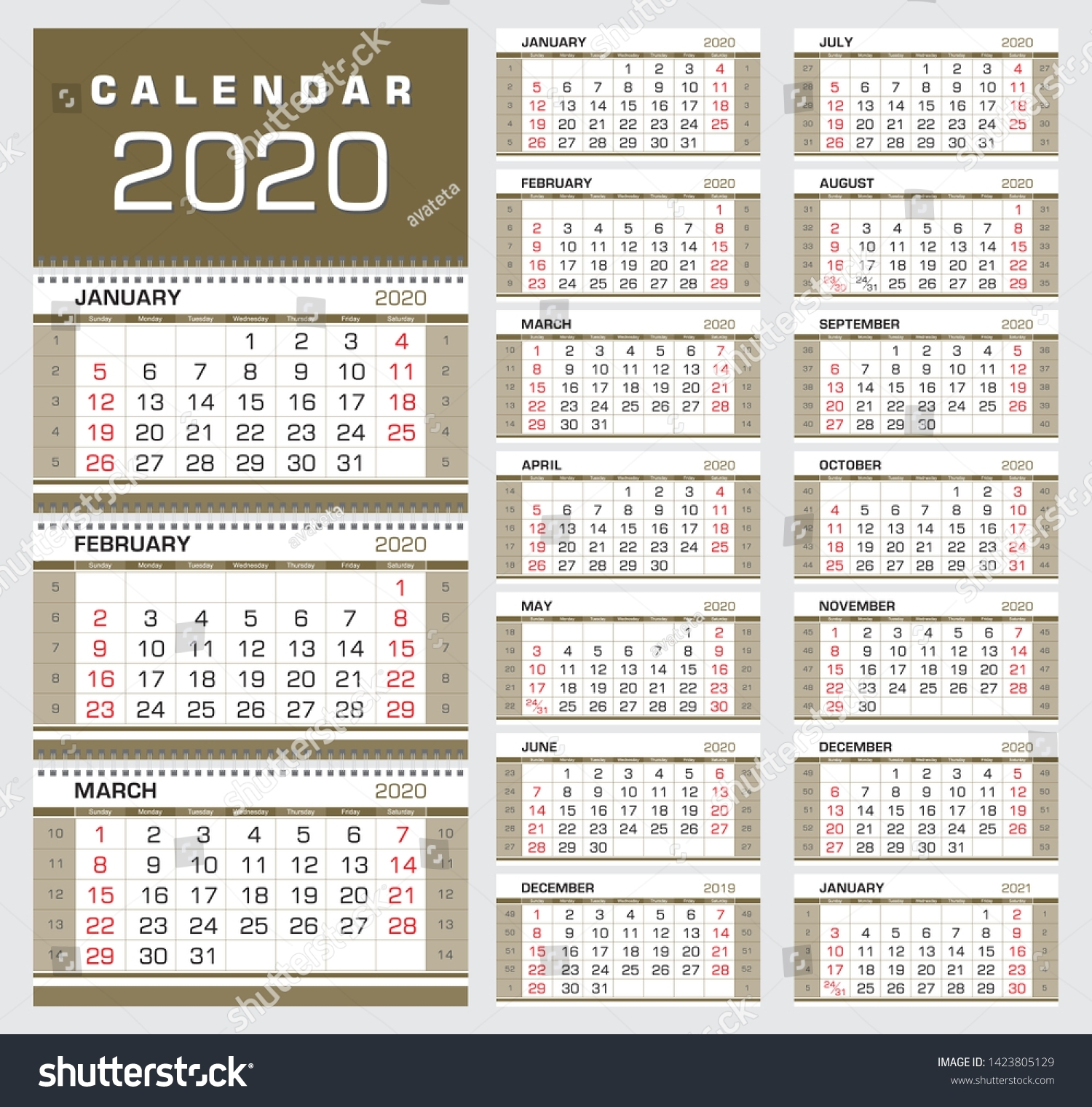 Gold Wall Quarter Calendar 2020 Week Stock Image | Download Now
