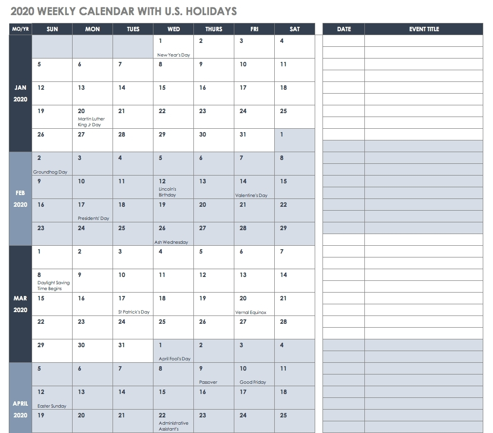 Good Printable Calendar Excel 2019 : Mini Calendar Template