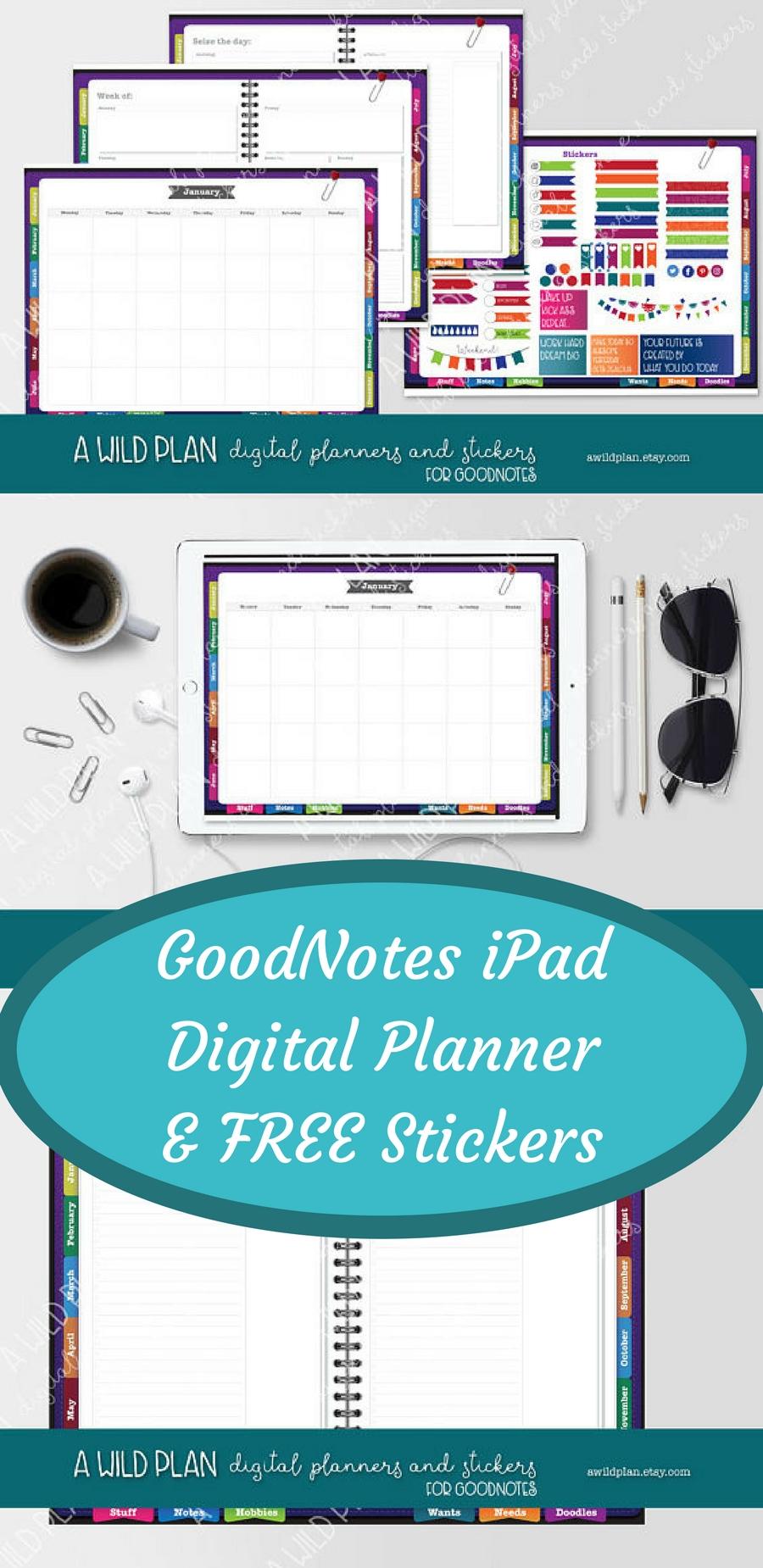 Goodnotes Ipad Digital Planner Plus Free Stickers | Undated