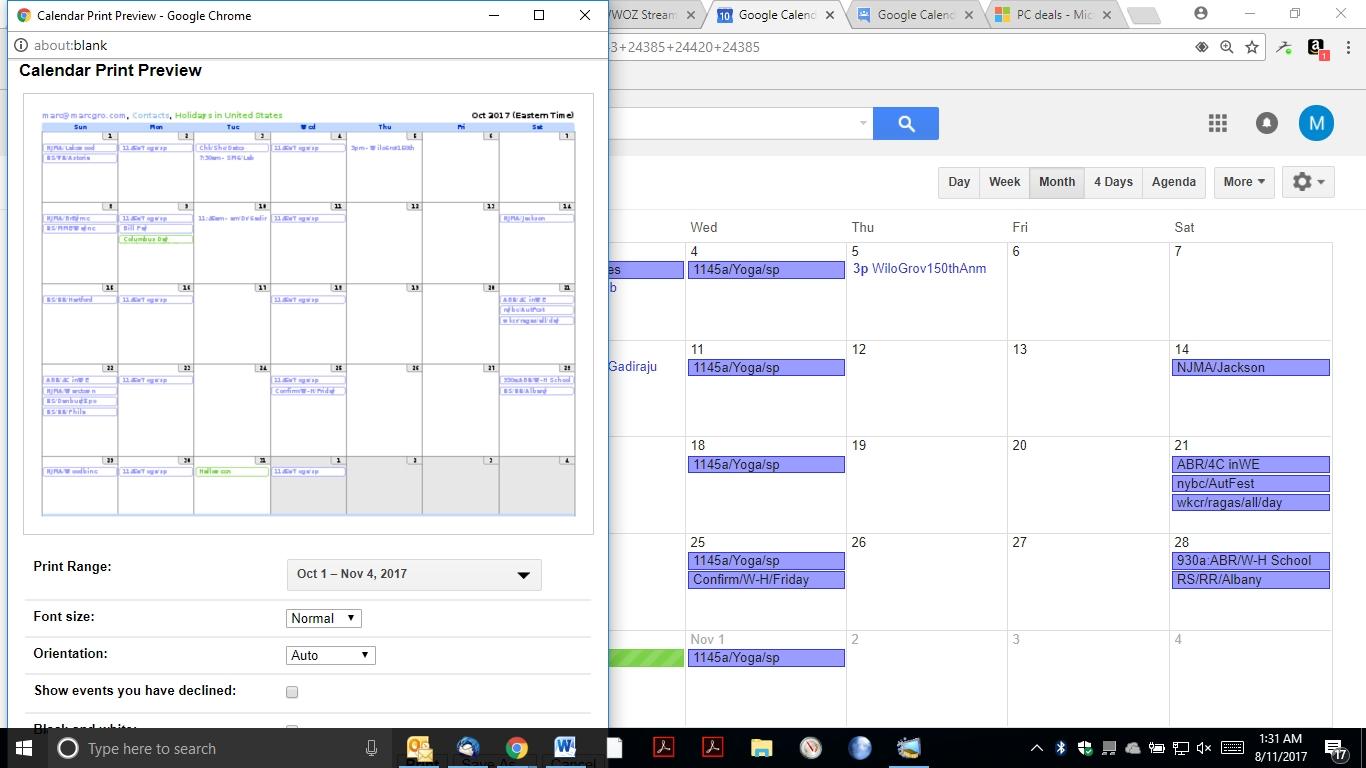 Google Calendar Black & White Print Option Disappeared