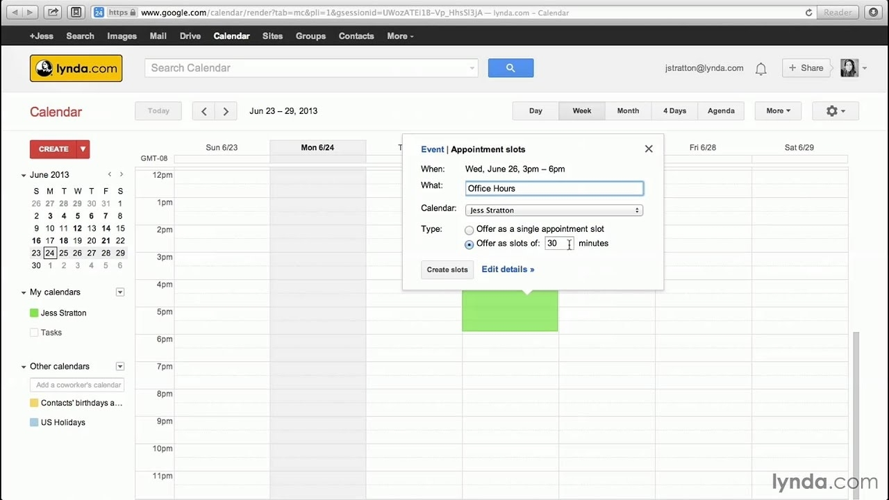 Google Calendar Tutorial: Creating Appointment Slots   Lynda