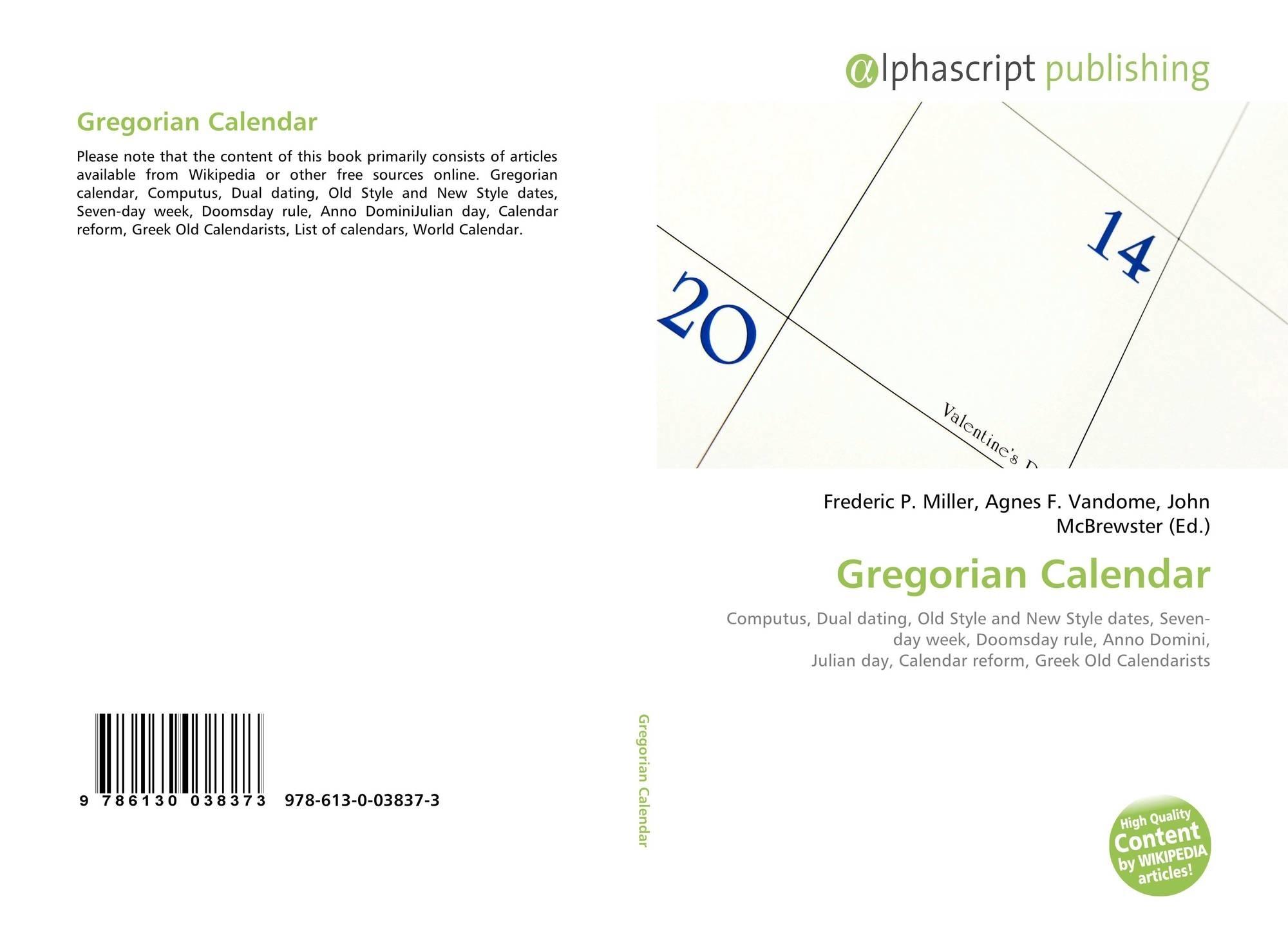 Gregorian Calendar, 978-613-0-03837-3, 6130038372 ,9786130038373