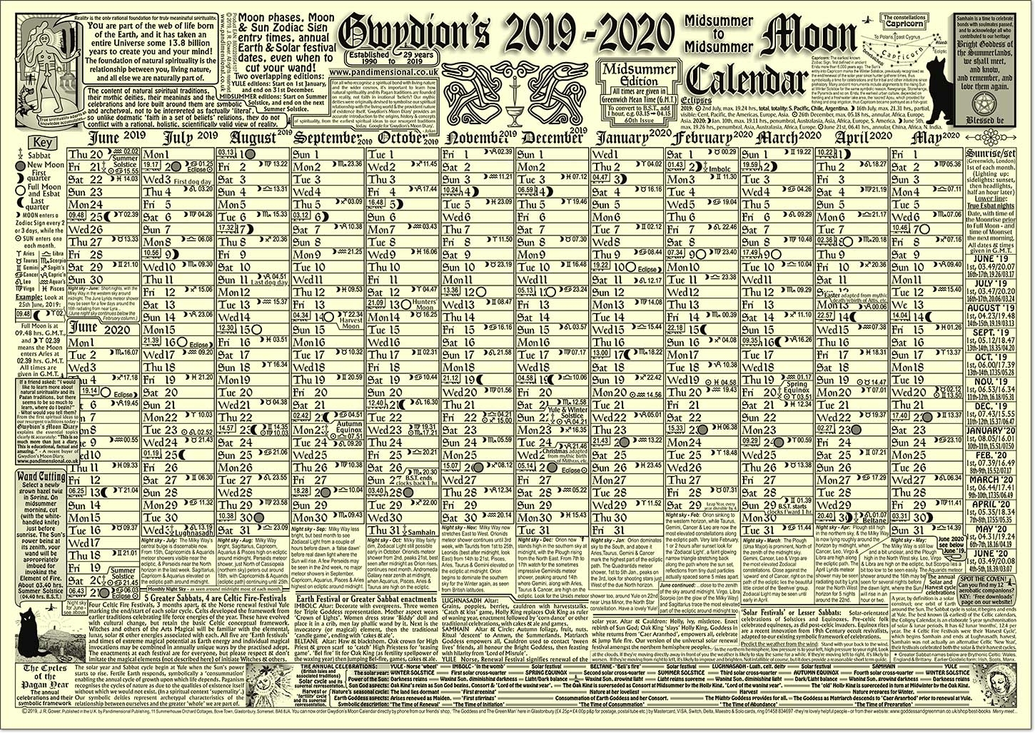 Gwydion's Moon Calendar - The New 2020 Edition. - Buy Online