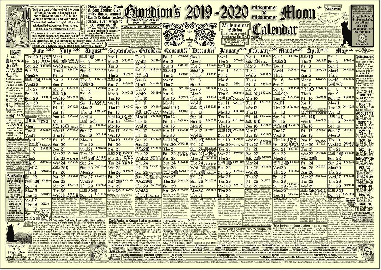 Gwydion's Moon Calendar - The New 2020 Edition. - Buy Online
