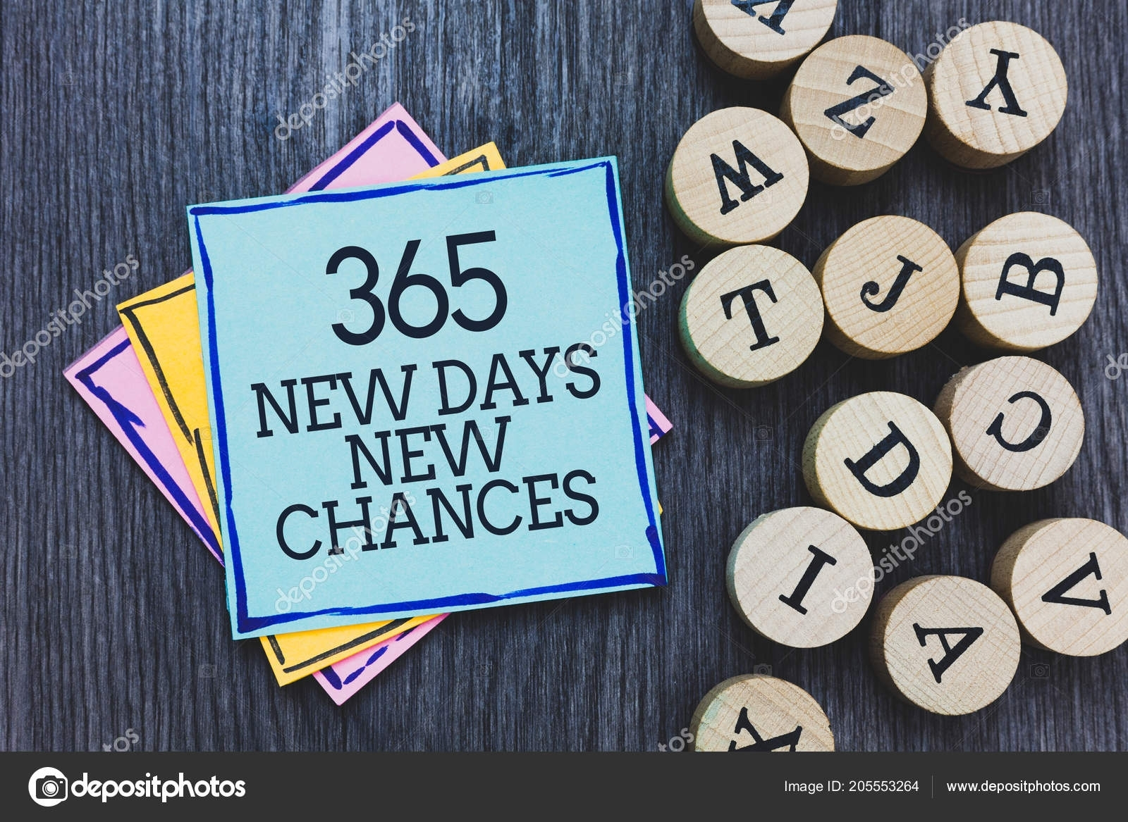 Handwriting Text 365 New Days New Chances Concept Meaning