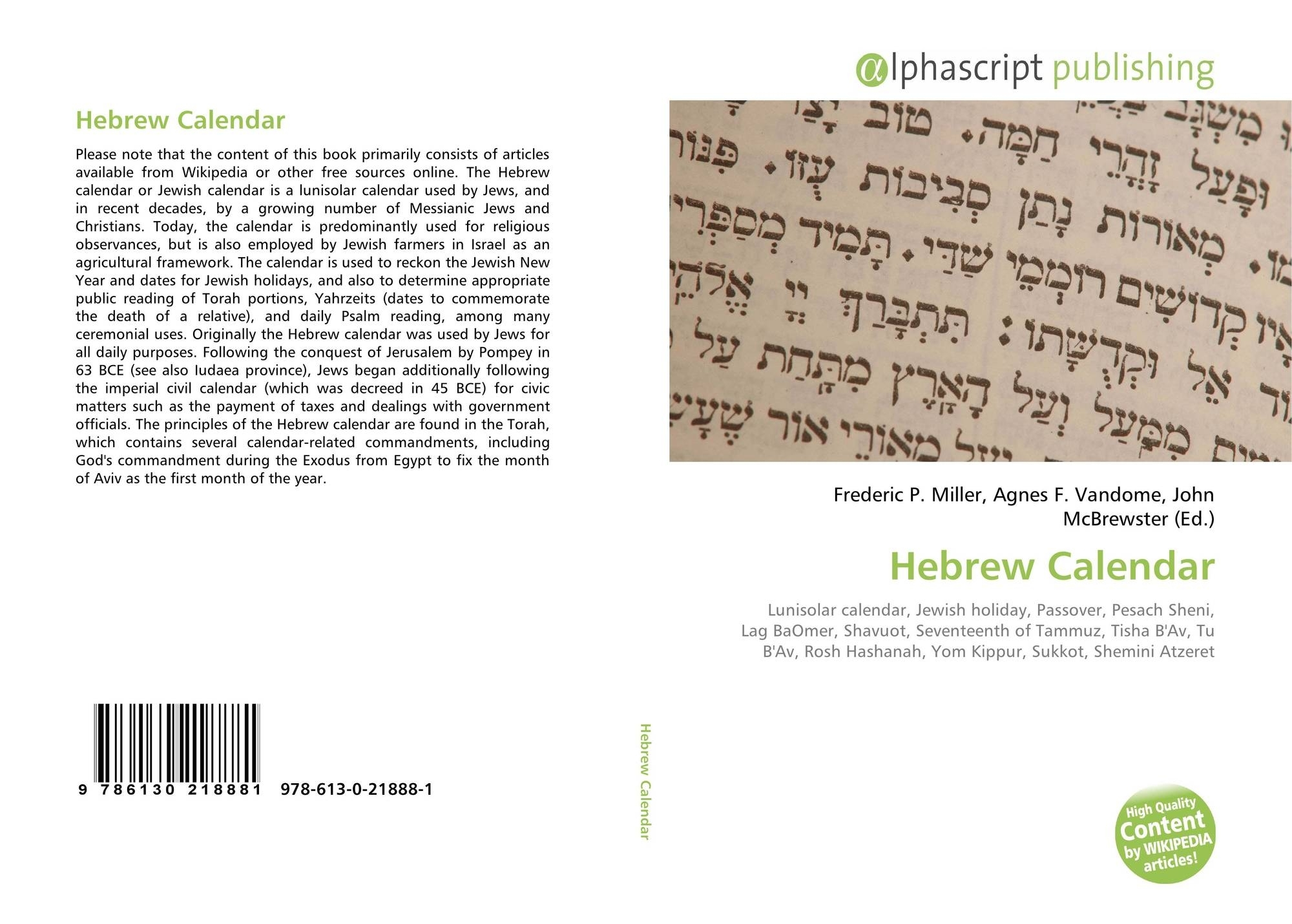 Hebrew Calendar, 978-613-0-21888-1, 6130218885 ,9786130218881