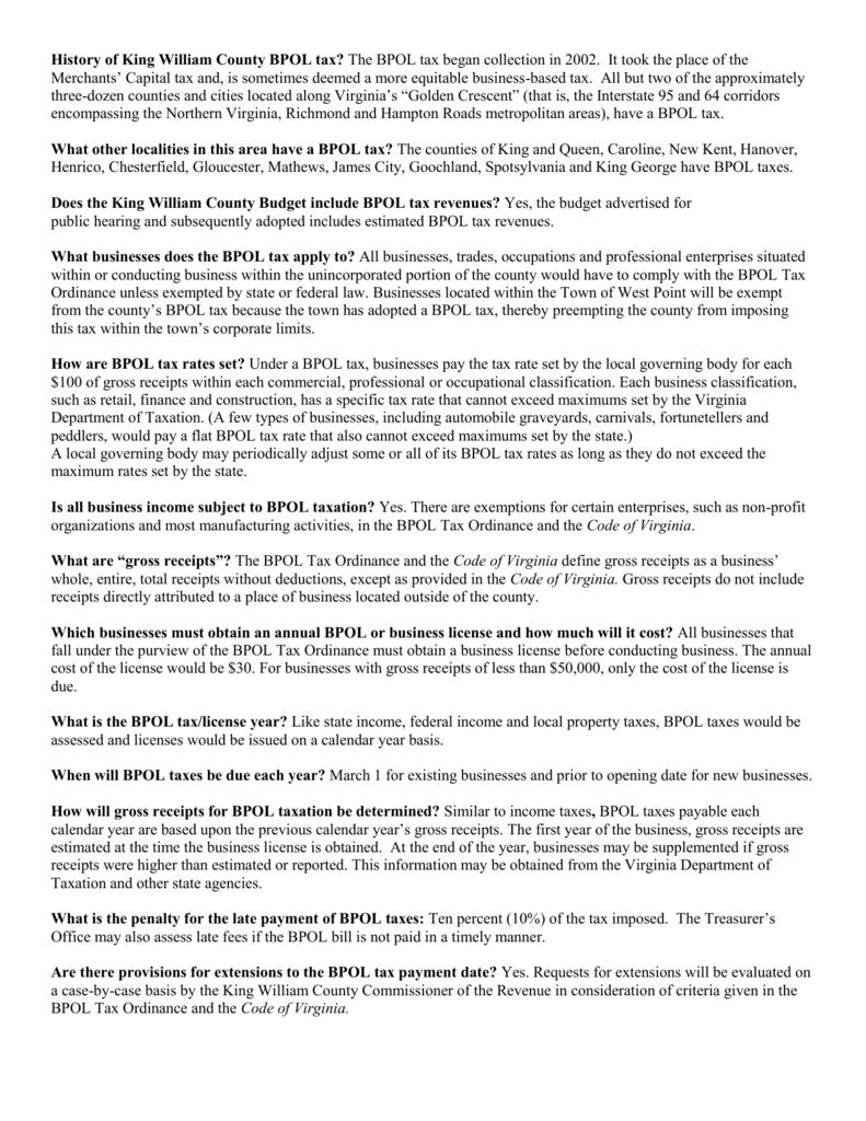 History Of King William County Bpol Tax? The Bpol Tax Began