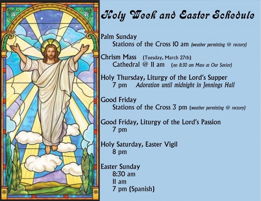 Holy Week & Easter Schedule - Our Savior Catholic Church