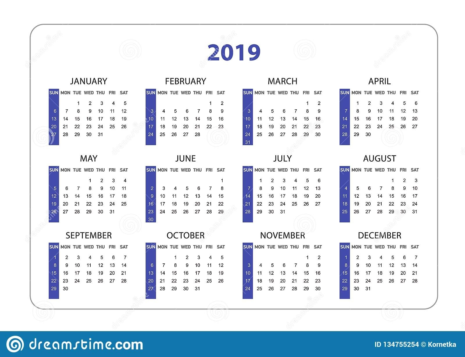Horizontal Pocket Calendar On 2019 Year. Simple Vector