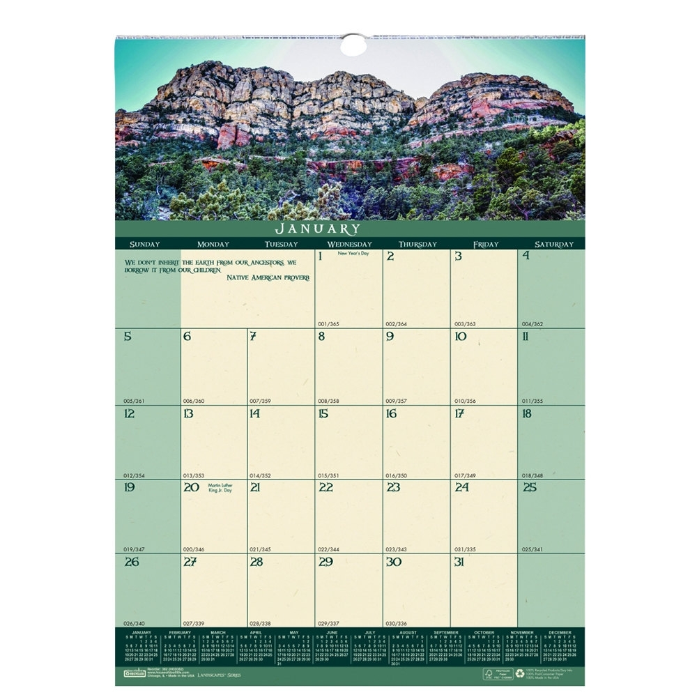 "House Of Doolittle 362 12"" X 16 1/2"" Recycled Landscape Monthly January  2020 - December 2020 Wall Calendar"
