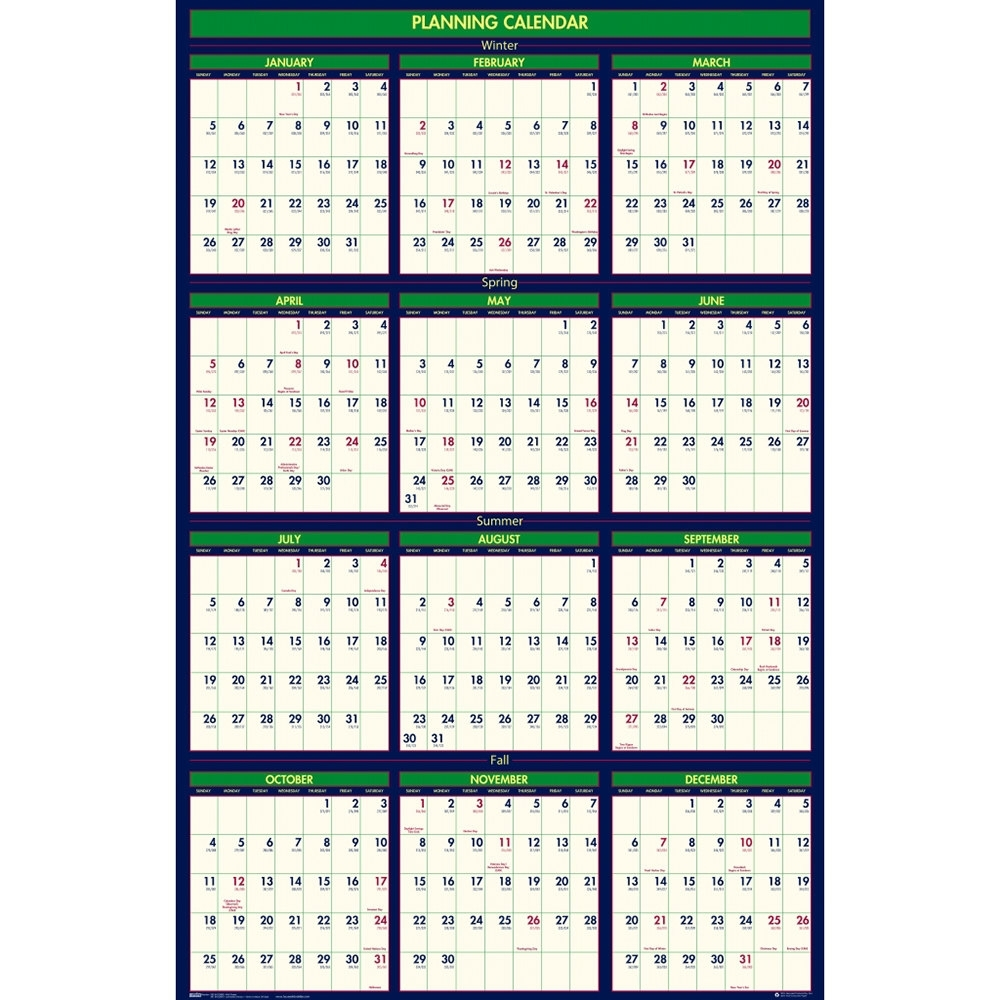 "House Of Doolittle 391 24"" X 37"" Recycled 4 Seasons Yearly 2019 - 2020  Reversible Business/academic Wall Calendar"
