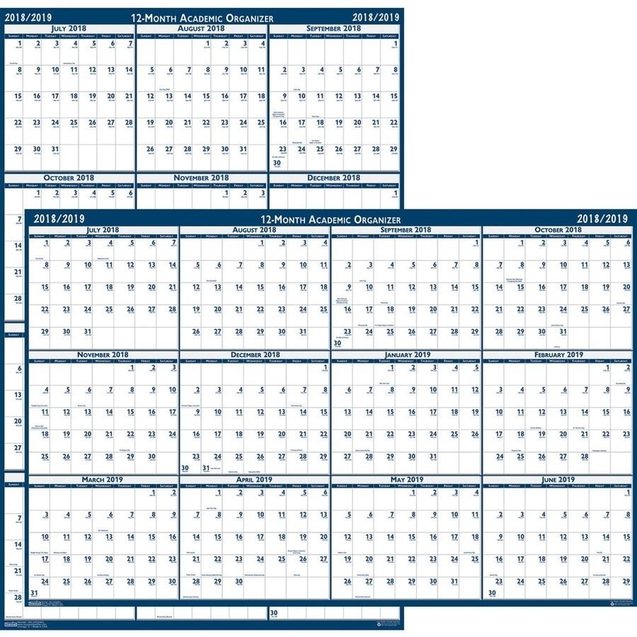 "House Of Doolittle Academic July-June Wall Calendar - Yes - Monthly - 1  Year - July 2019 Till June 2020 - 18"" X 24"" - Wall Mountable - Blue, White  -"