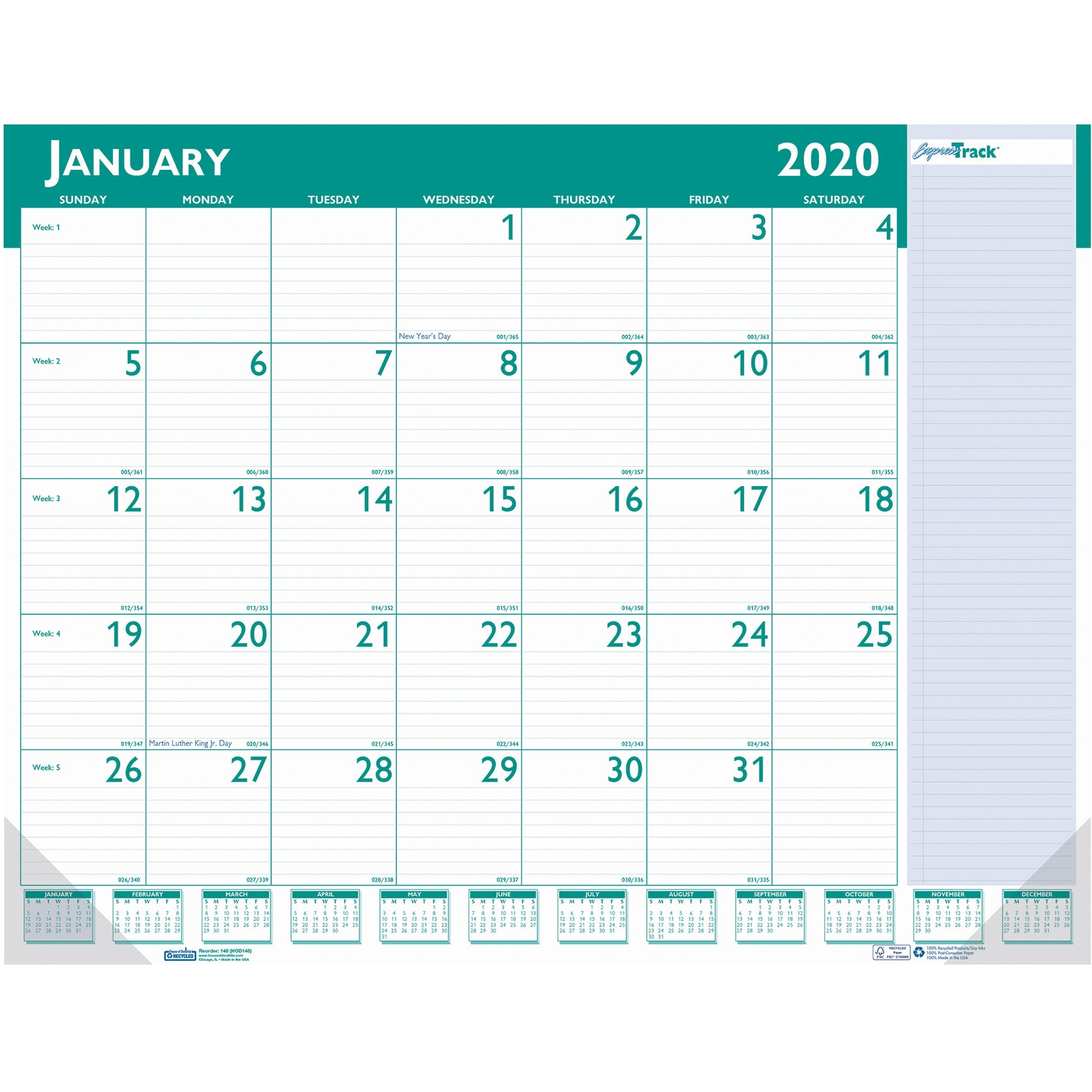 House Of Doolittle Expresstrack Desk Pad Calendar - Yes - Monthly - 1.1  Year - January 2019 Till January 2020 - 1 Month Single Page Layout - 22 X  17 -