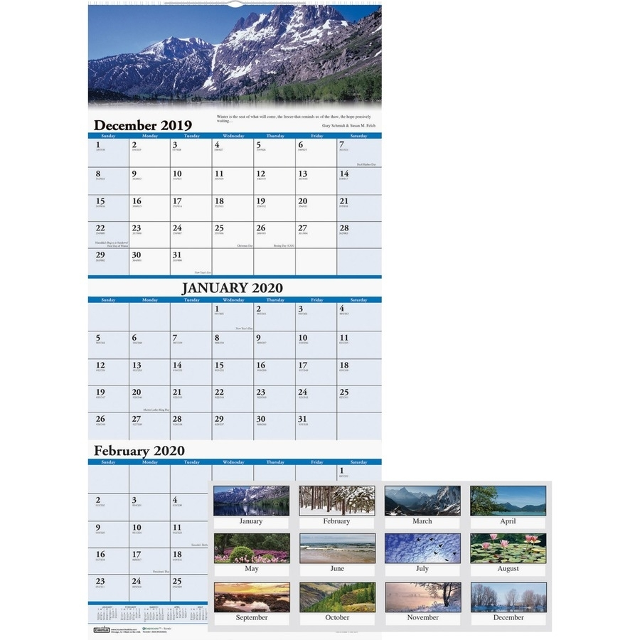 "House Of Doolittle Scenic 3-Month Wall Calendar - Yes - 1.2 Year - December  2019 Till January 2021 - 3 Month Single Page Layout - 12 1/4"" X 27"" - Wire"