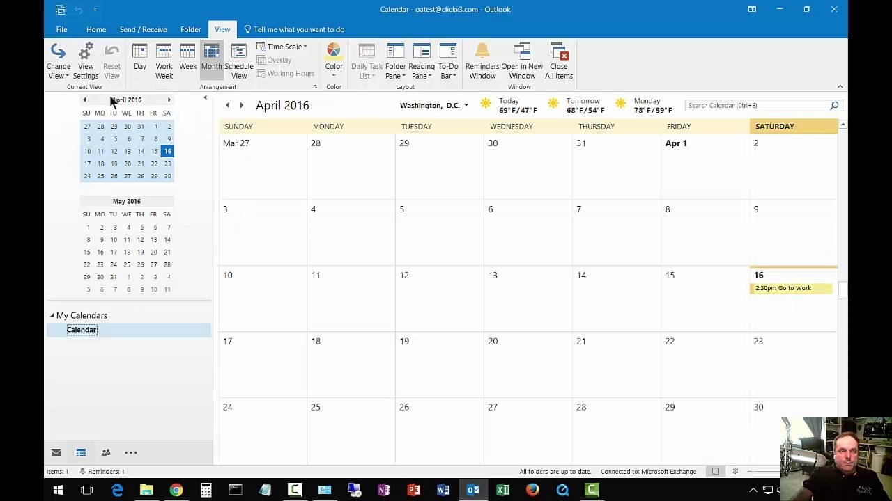 How To Change From List View To Day Calendar In Outlook 2016
