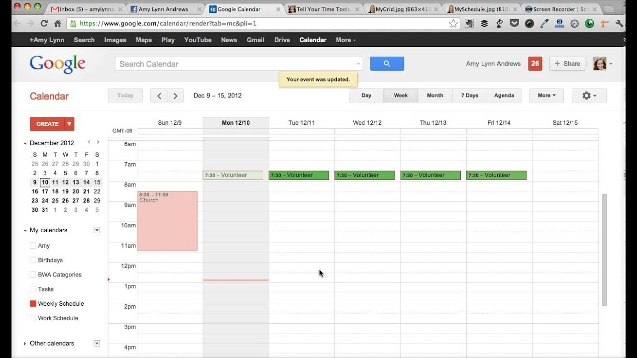 How To Create A Weekly Schedule With Google Calendar - Amy