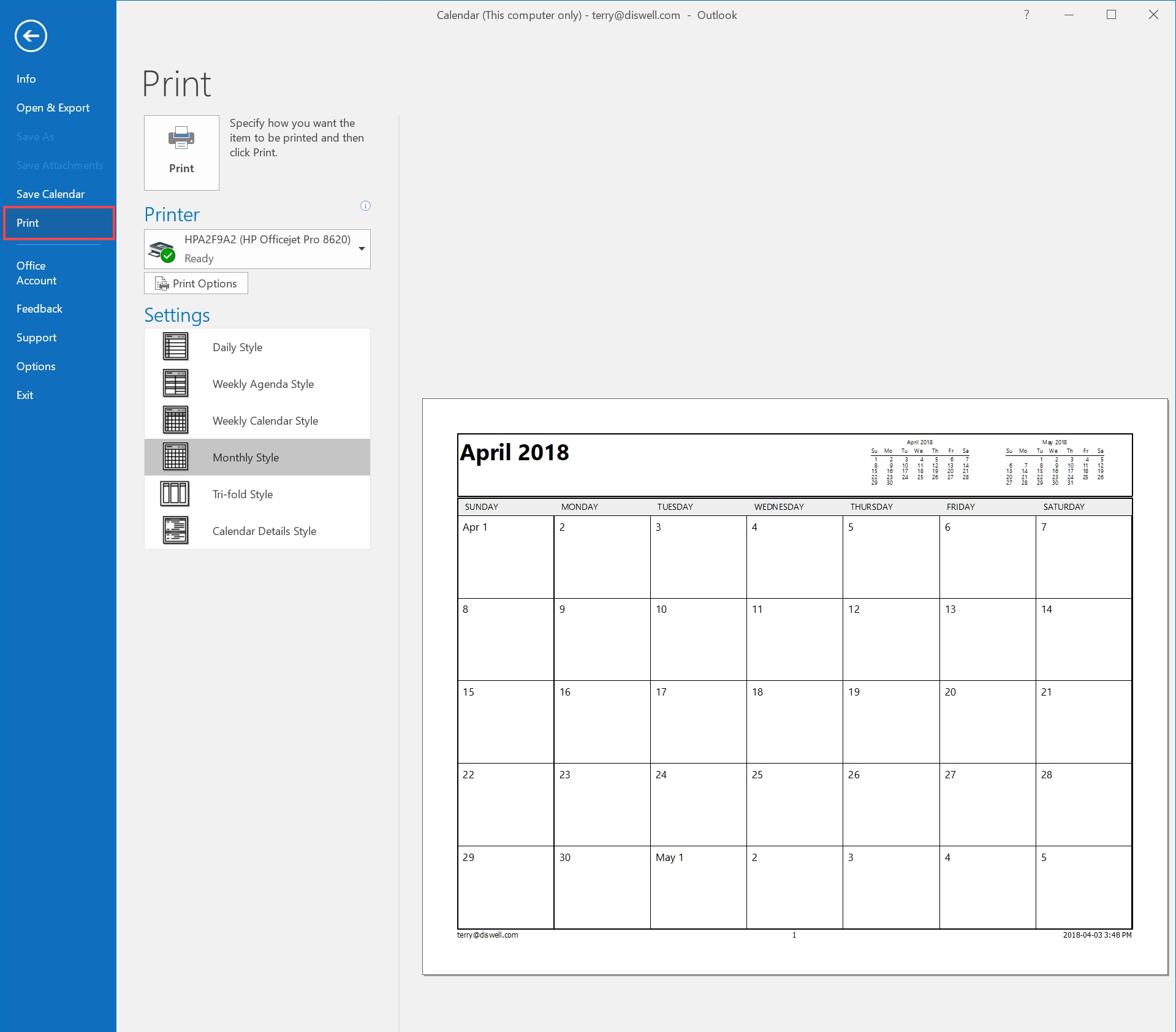Print Calendar Range Outlook