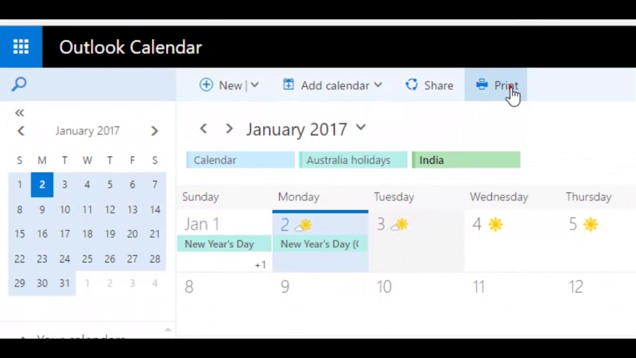 How To Print Calendar With Agenda In Outlook Webmail 365