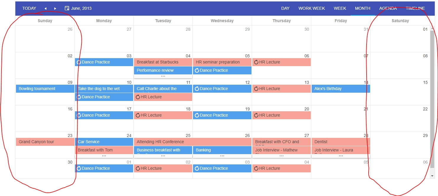 How To Style Kendo Scheduler's Weekend - Stack Overflow