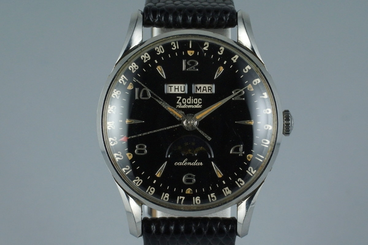 Hq Milton - Vintage 1958 Zodiac Triple Date Moonphase