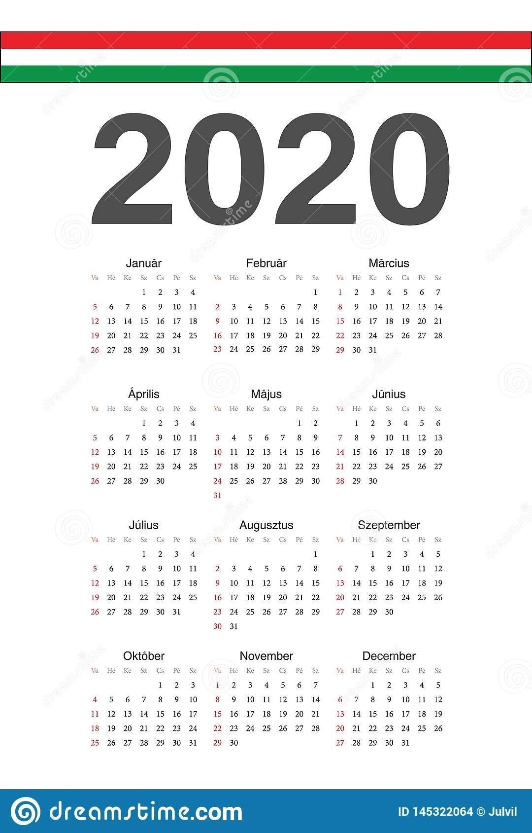 Hungarian 2020 Year Vector Calendar Stock Vector