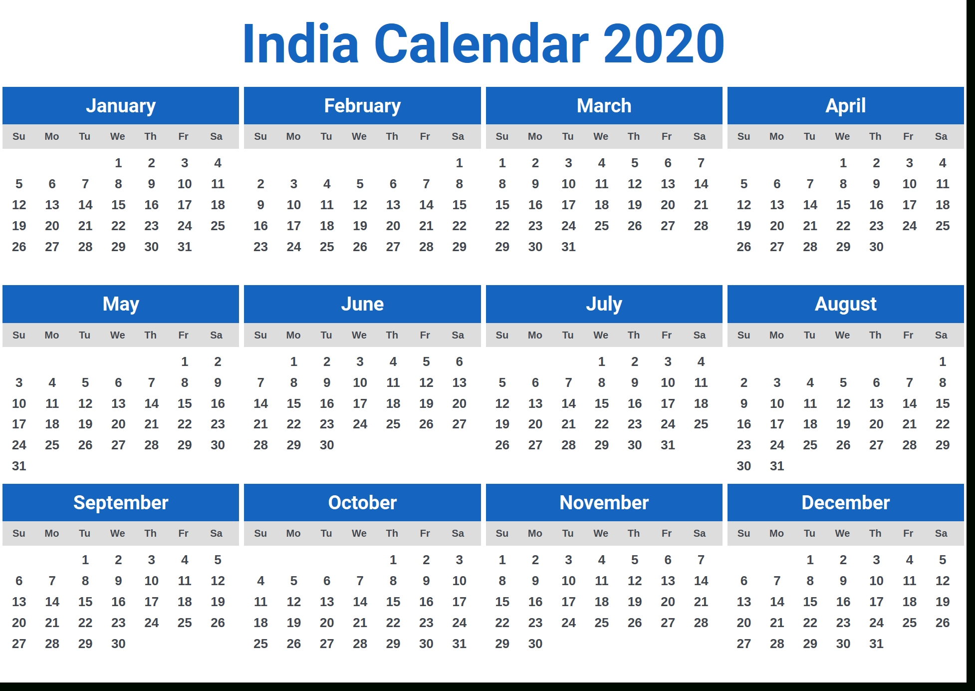 Image For India Calendar 2020 In 2019 | Calendar 2020