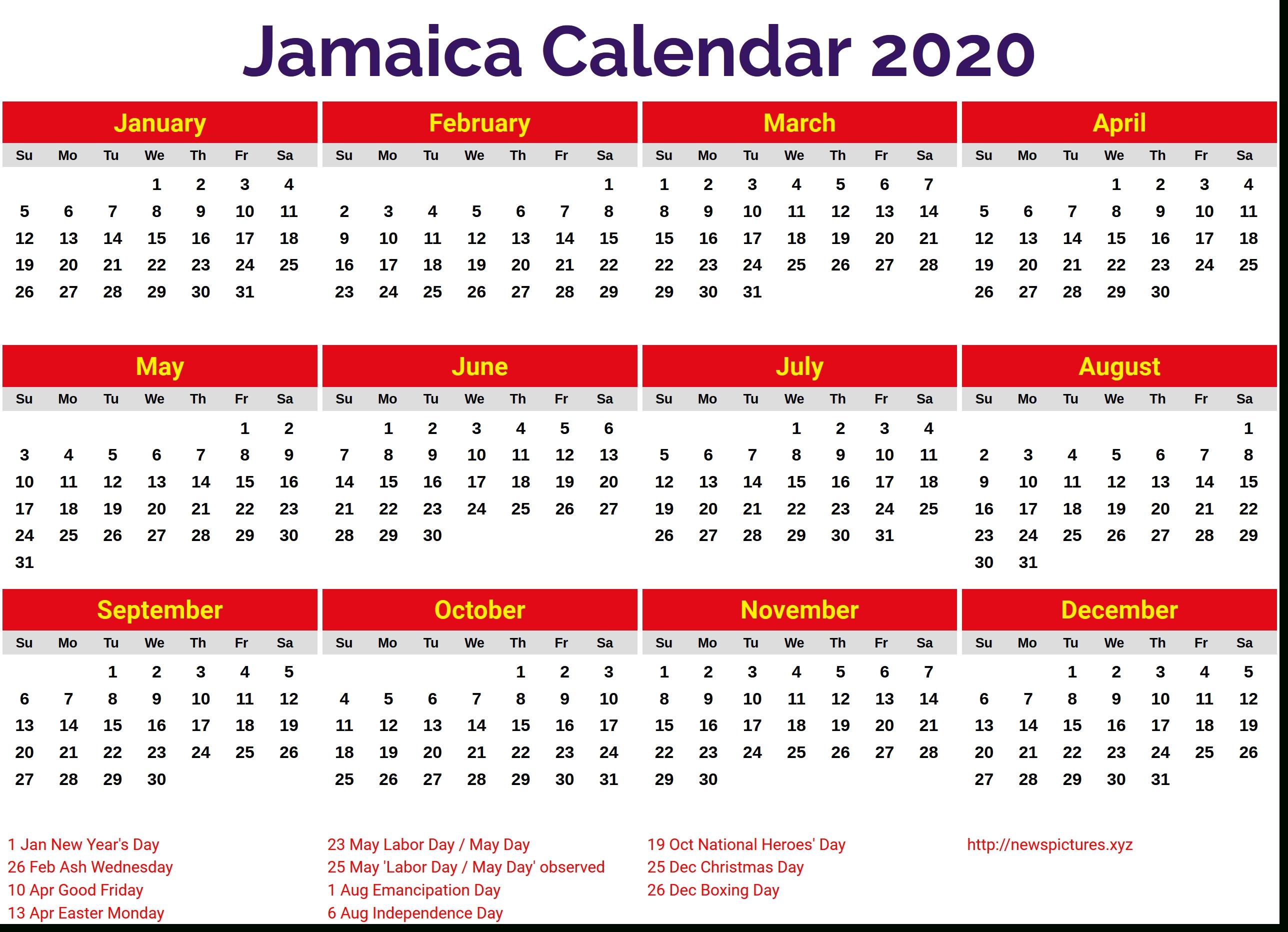 Image For Jamaica 2020 Calendar | Holiday Calendar, 2019
