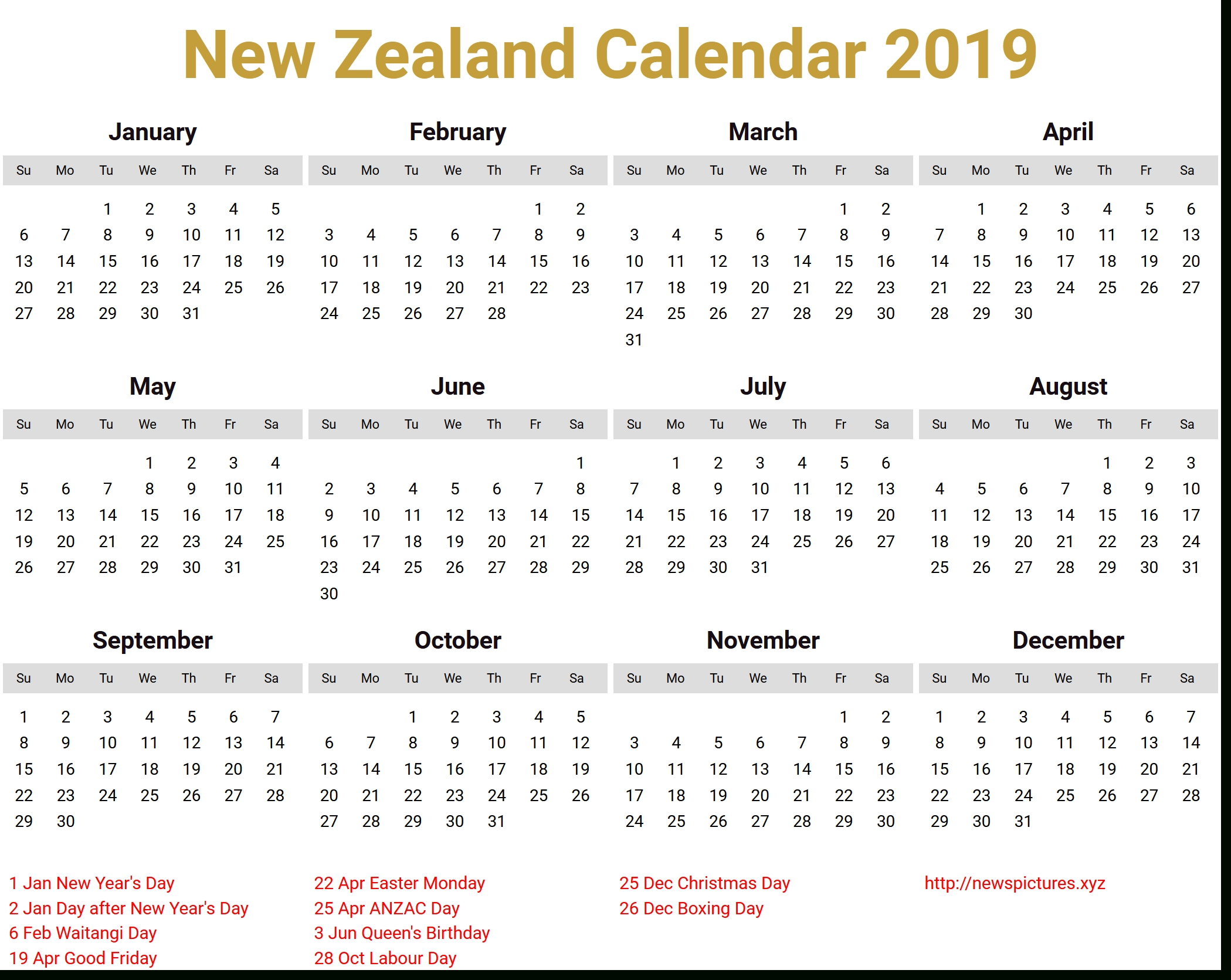 Image For New Zealand Calendar 2019 Download | Holiday