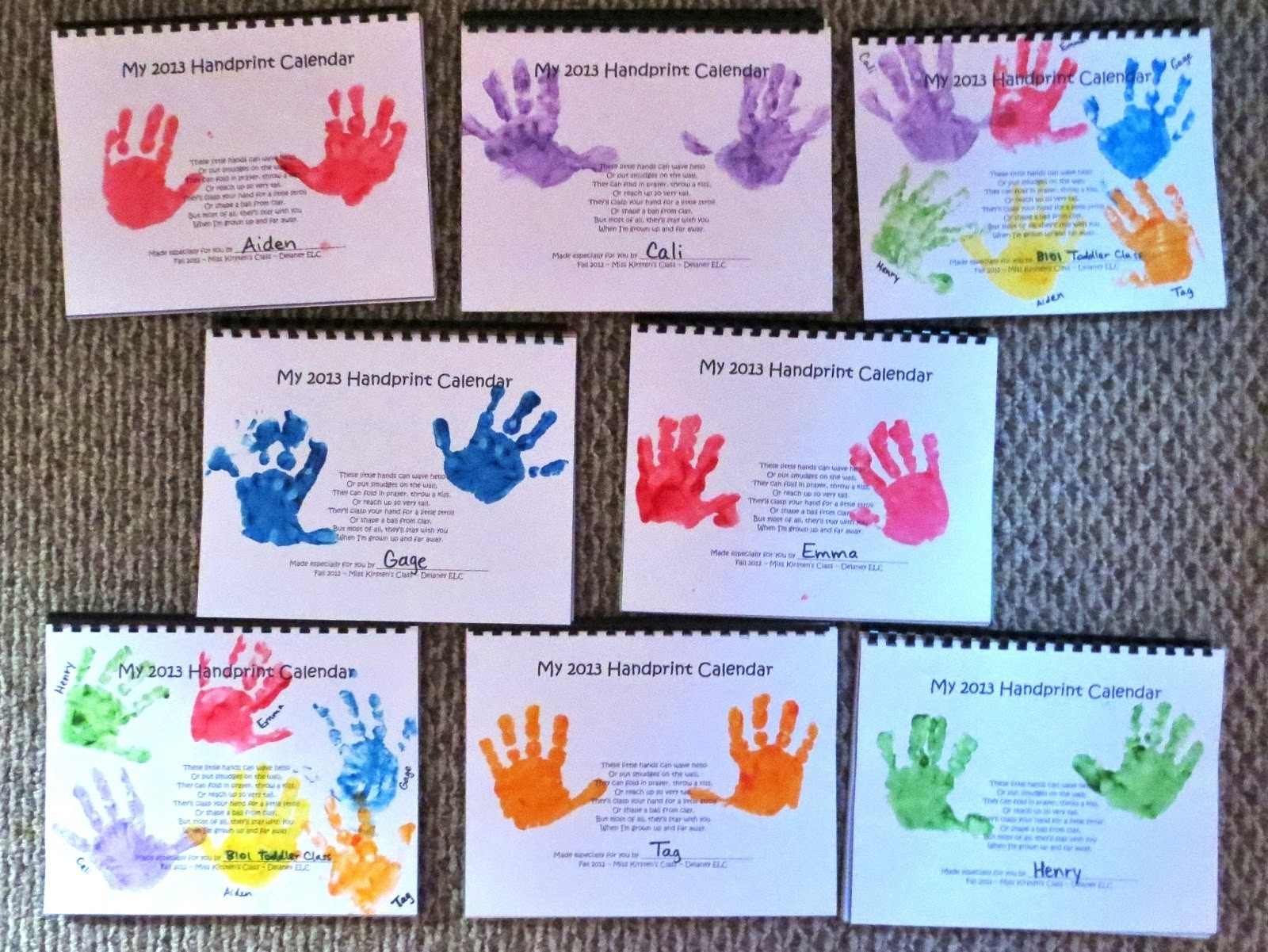 Img 9143 Handprint Calendars Bound And Ready To Give As