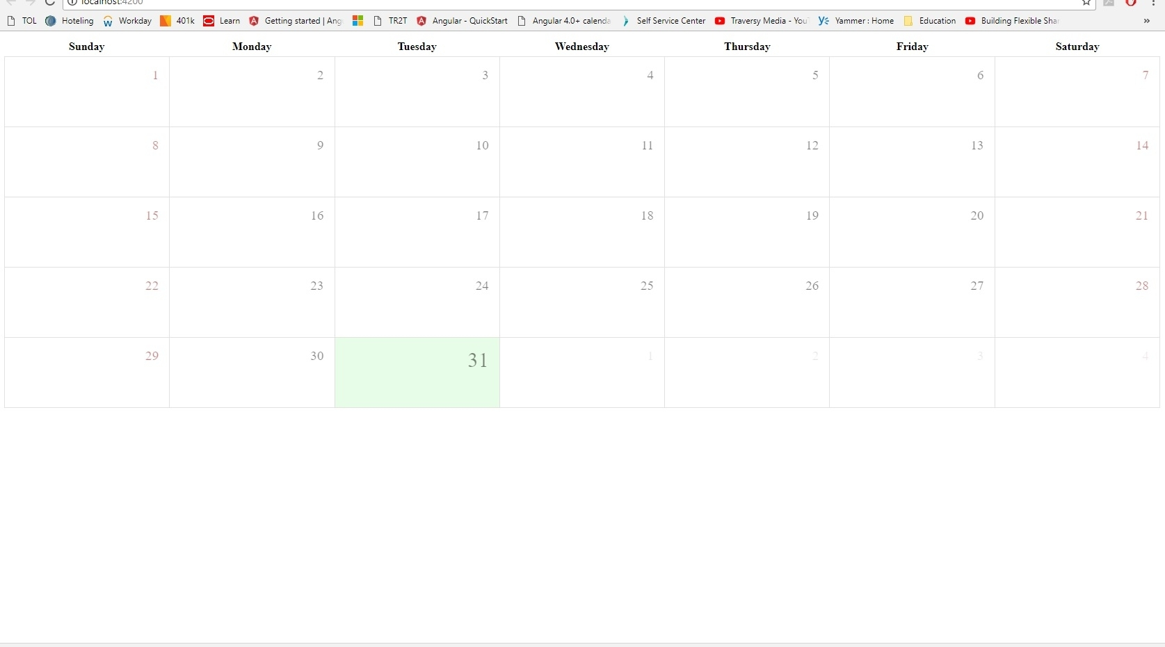 Implementing Angular-Calendar In Angular 4 Cli Project