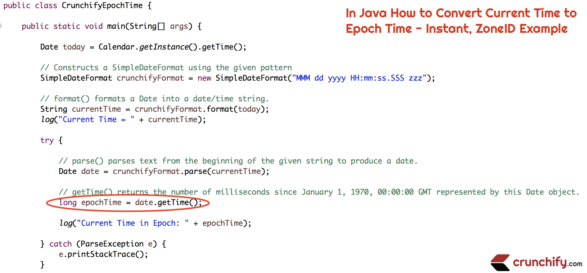 In Java How To Convert Current Time To Epoch Time - Instant