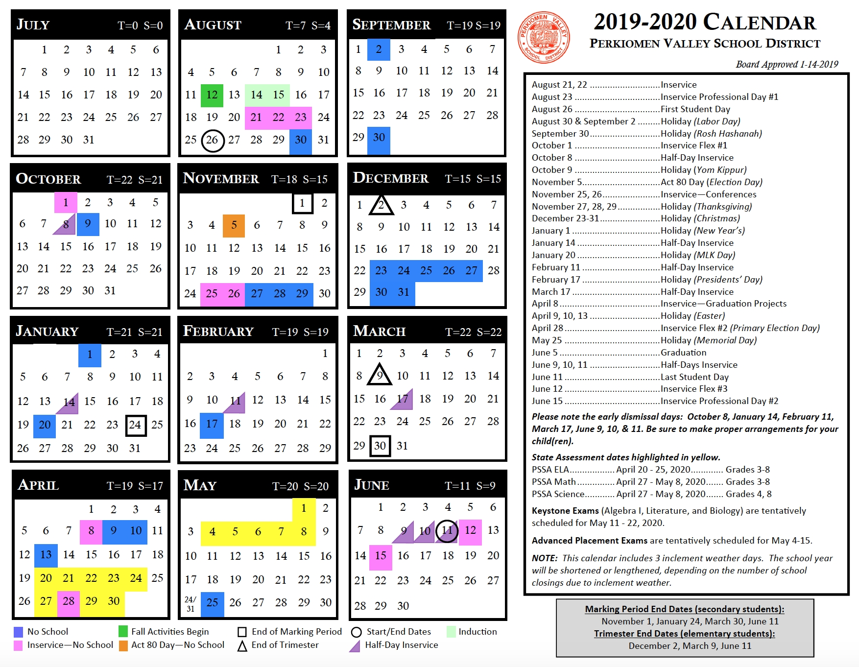 Instructional Calendar - Perkiomen Valley School District