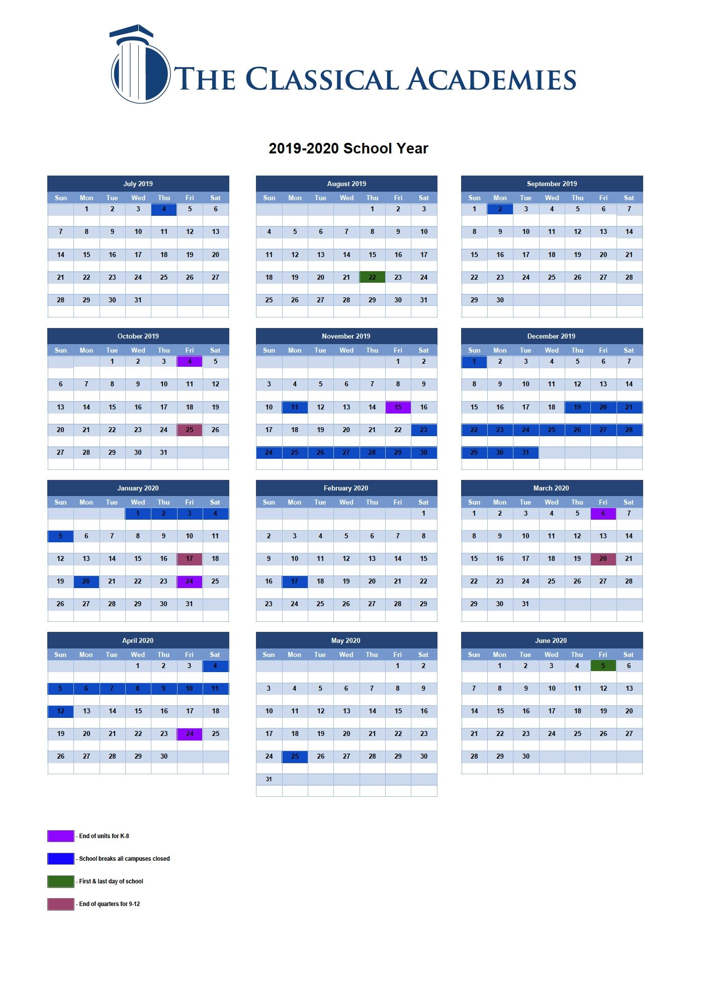 Instructional Calendar - The Classical Academies