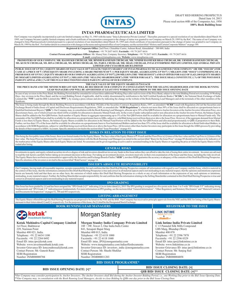 Intas Pharmaceuticals Limited Draft Red Herring Prospectus
