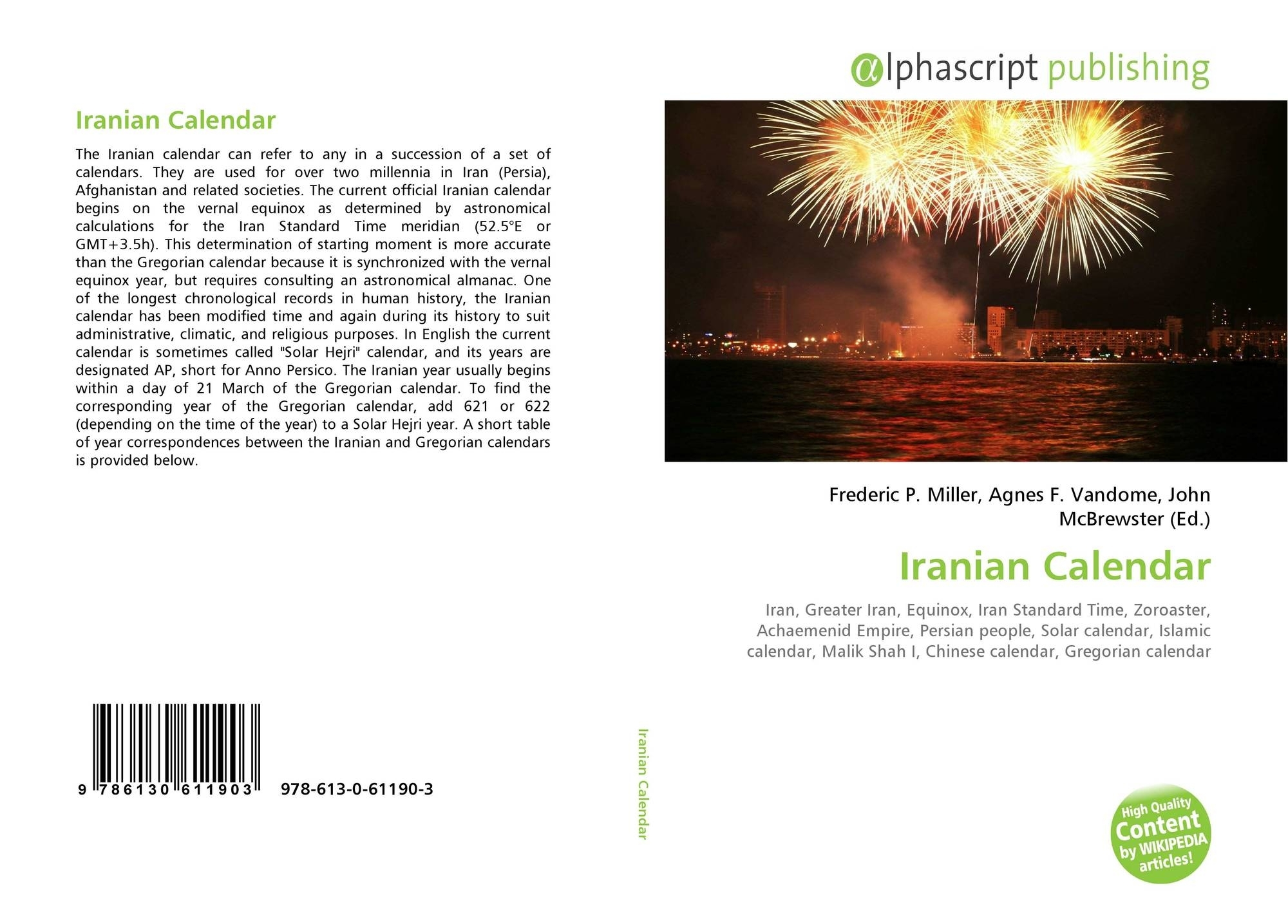 Iranian Calendar, 978-613-0-61190-3, 6130611900 ,9786130611903