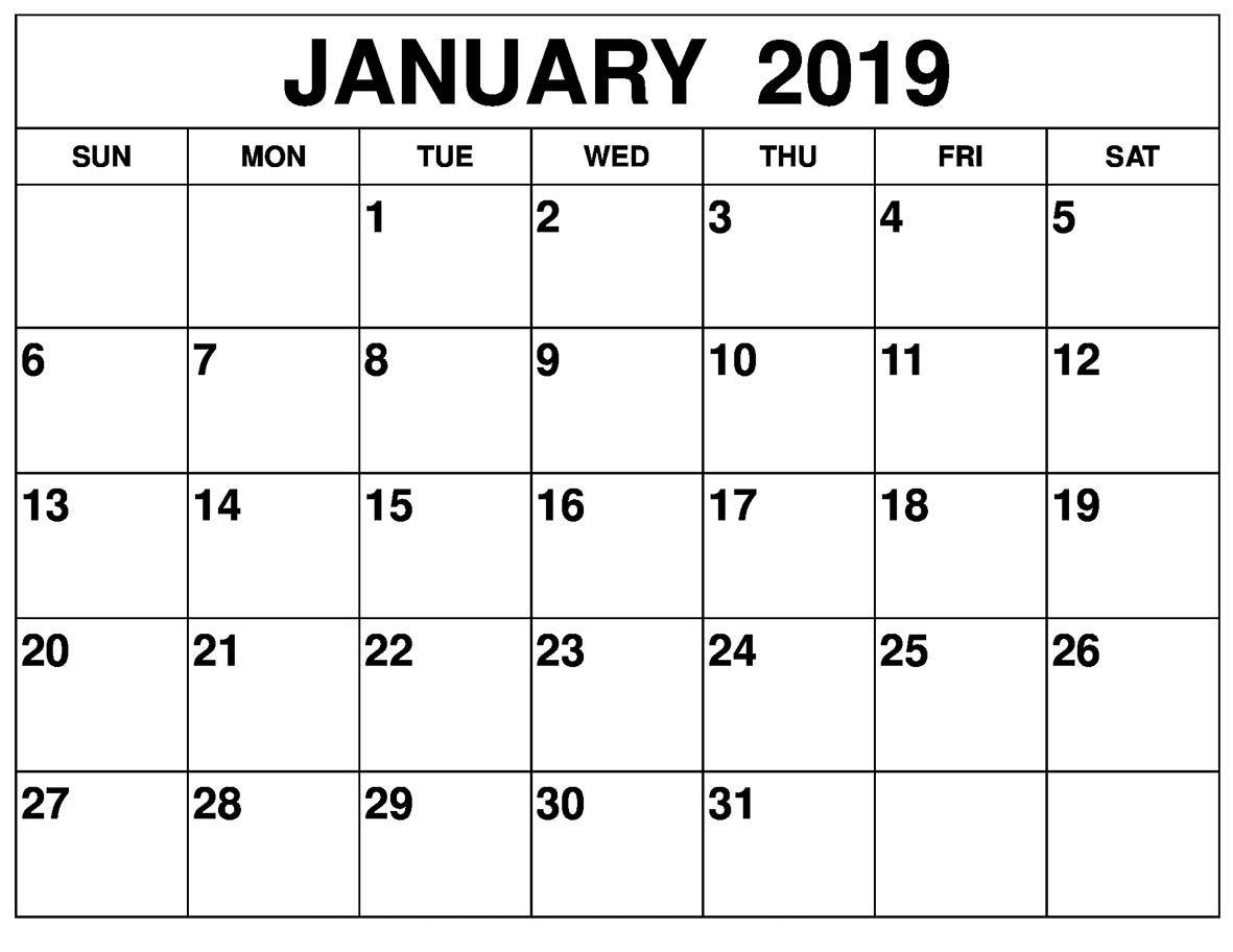 January 2019 Blank Calendar Template Free Download