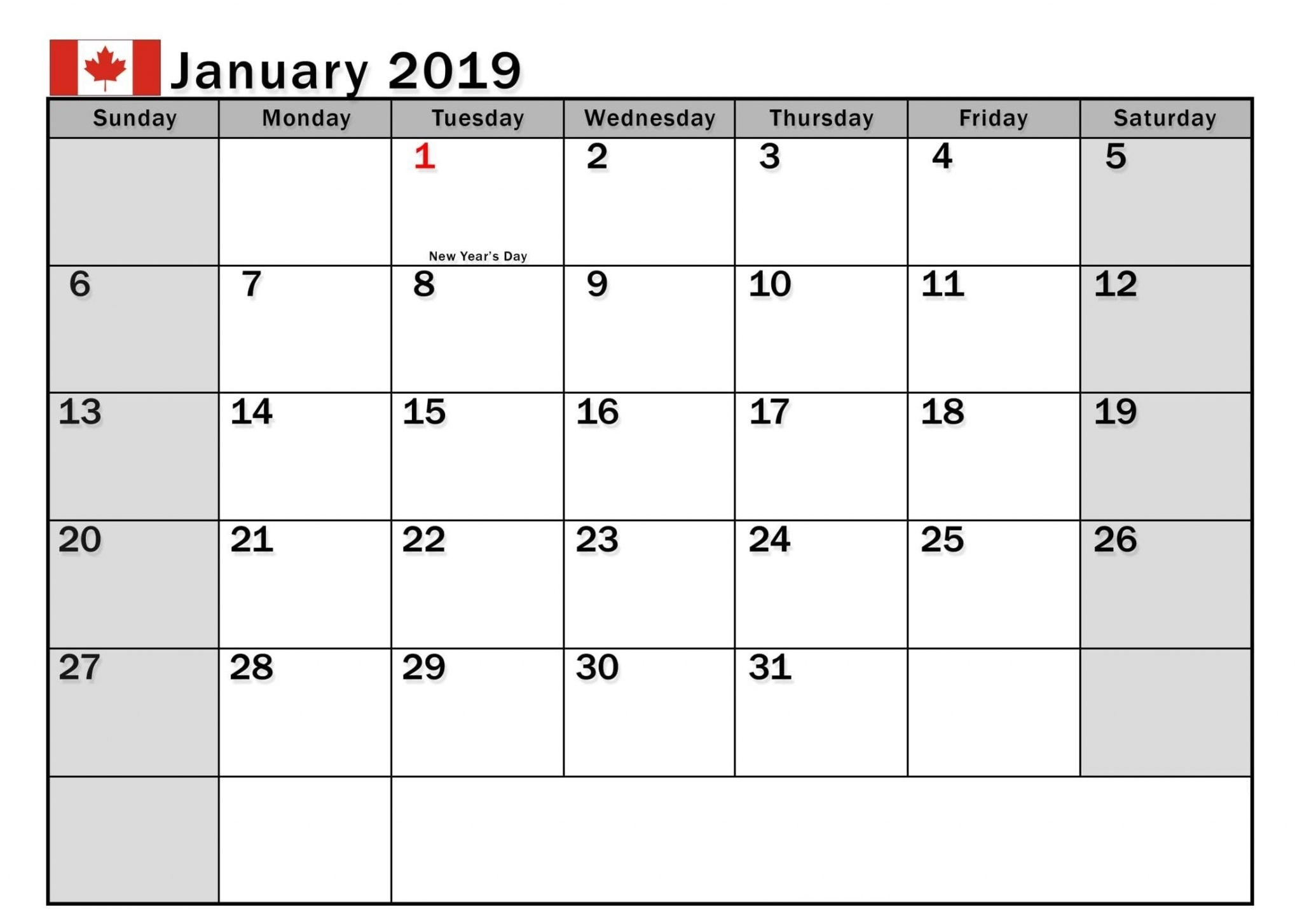 January 2019 Calendar Canada With Holidays - Free Printable