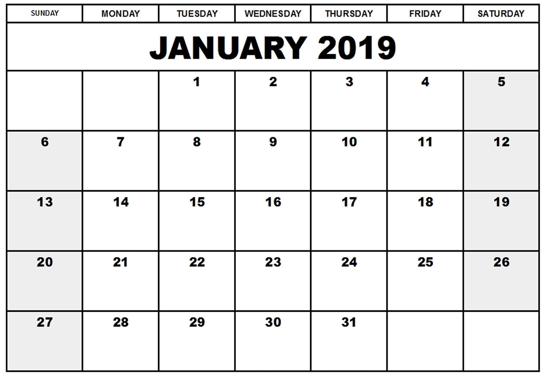 January 2019 Calendar Printable Blank Templates - Free Word